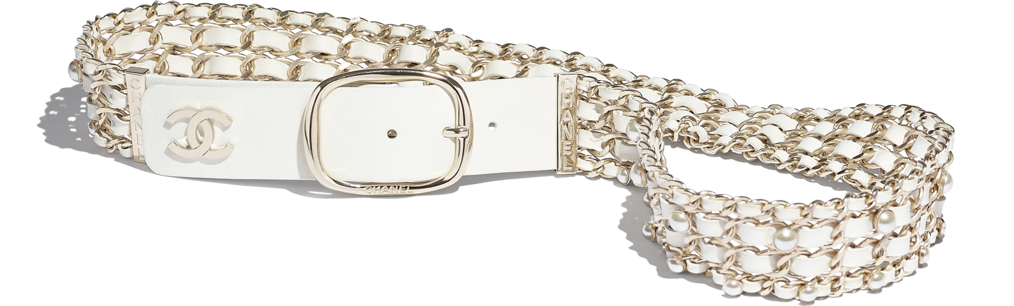 Lambskin, Gold-Tone Metal & Glass Pearls White