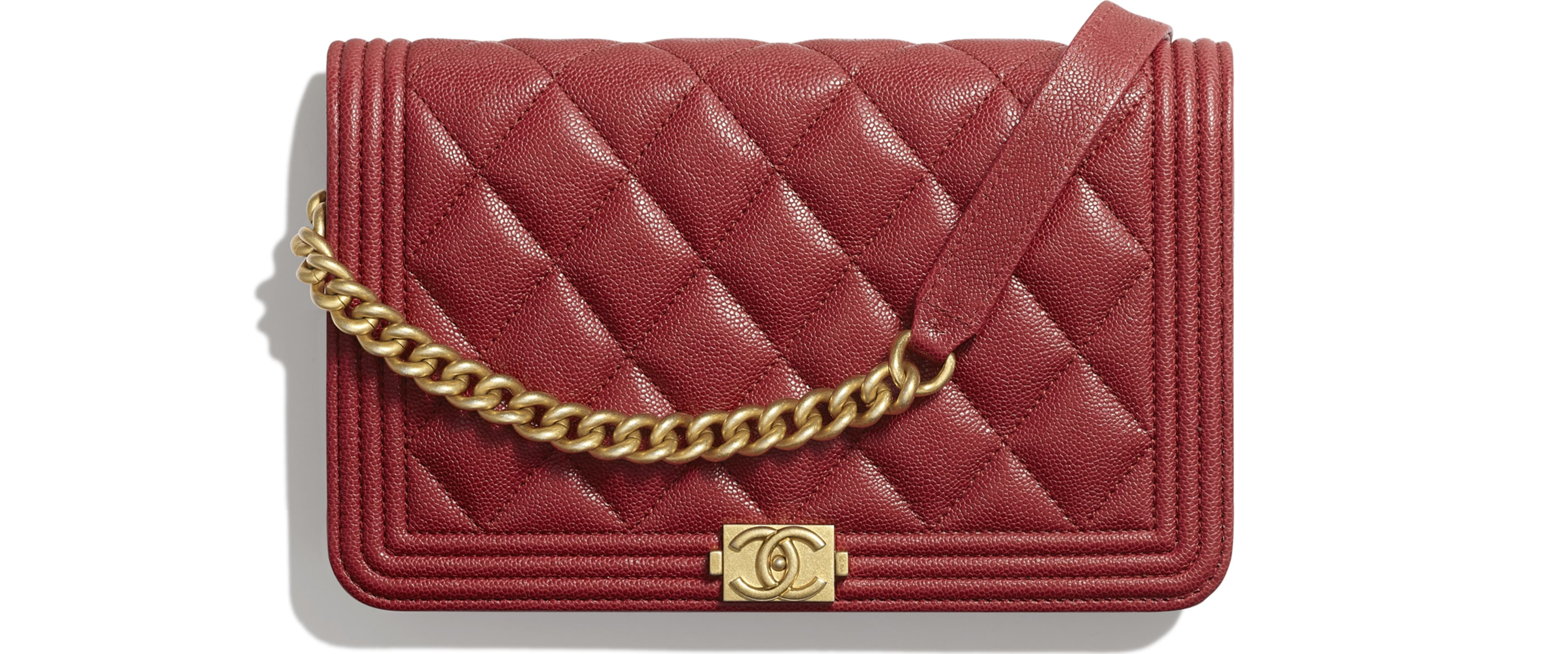 Grained Calfskin & Gold-Tone Metal Red
