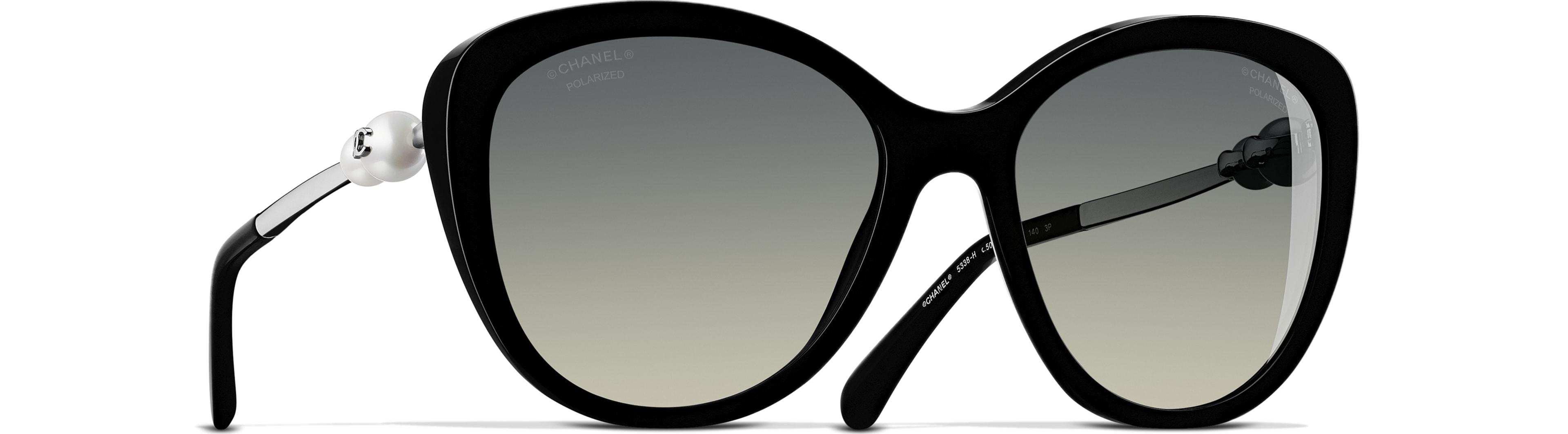 Acetate & Imitation Pearls black frame. Grey gradient lenses