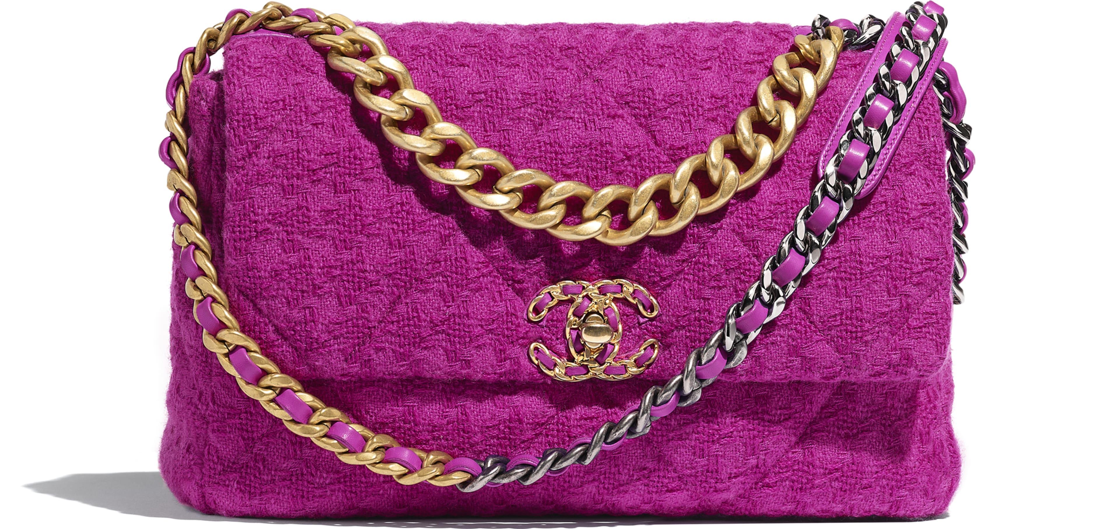 ผ้าทวีตขนสัตว์ โลหะสีทอง โลหะสีเงิน และโลหะเคลือบรูทีเนียม สีชมพูฟูเชีย