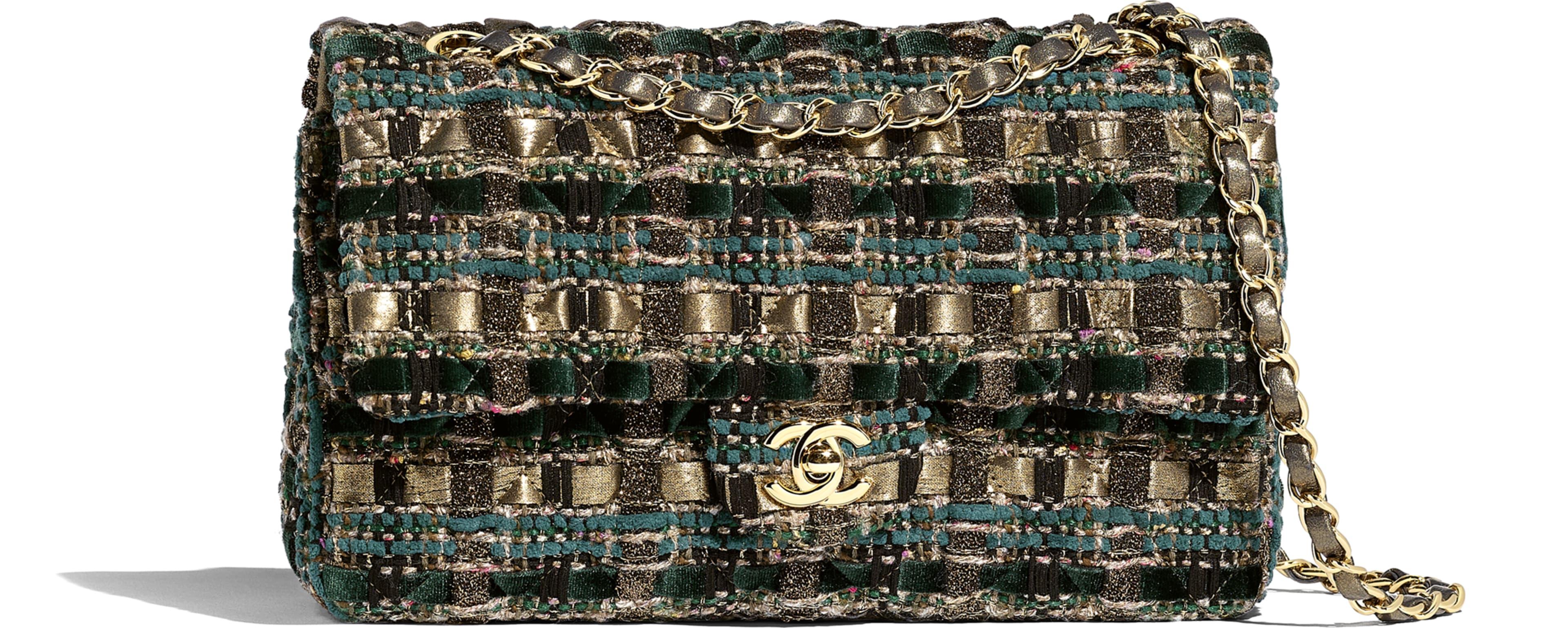 Tweed & Gold-Tone Metal Green, Gold, Beige & Black