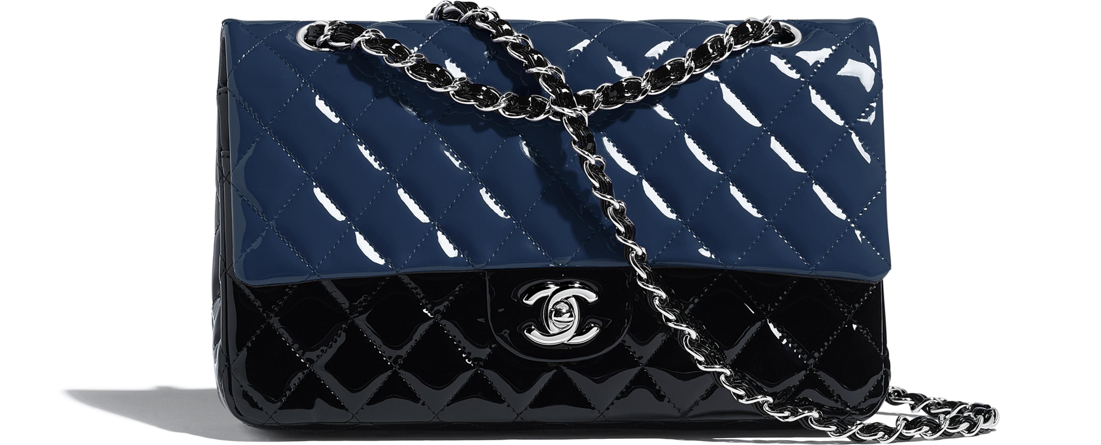 Patent Calfskin & Silver-Tone Metal Navy Blue & Black