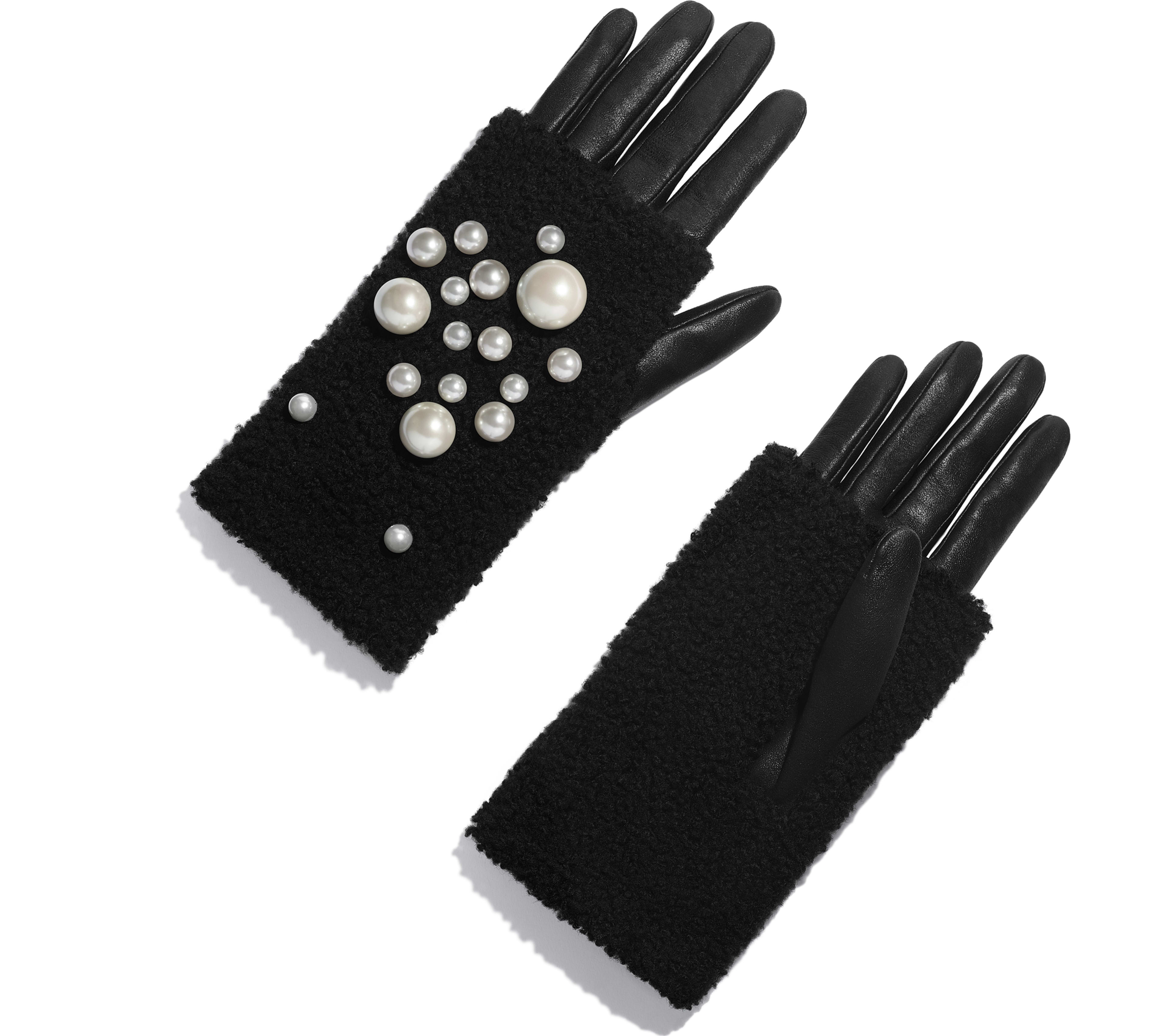 Lambskin, Shearling & Pearls Black