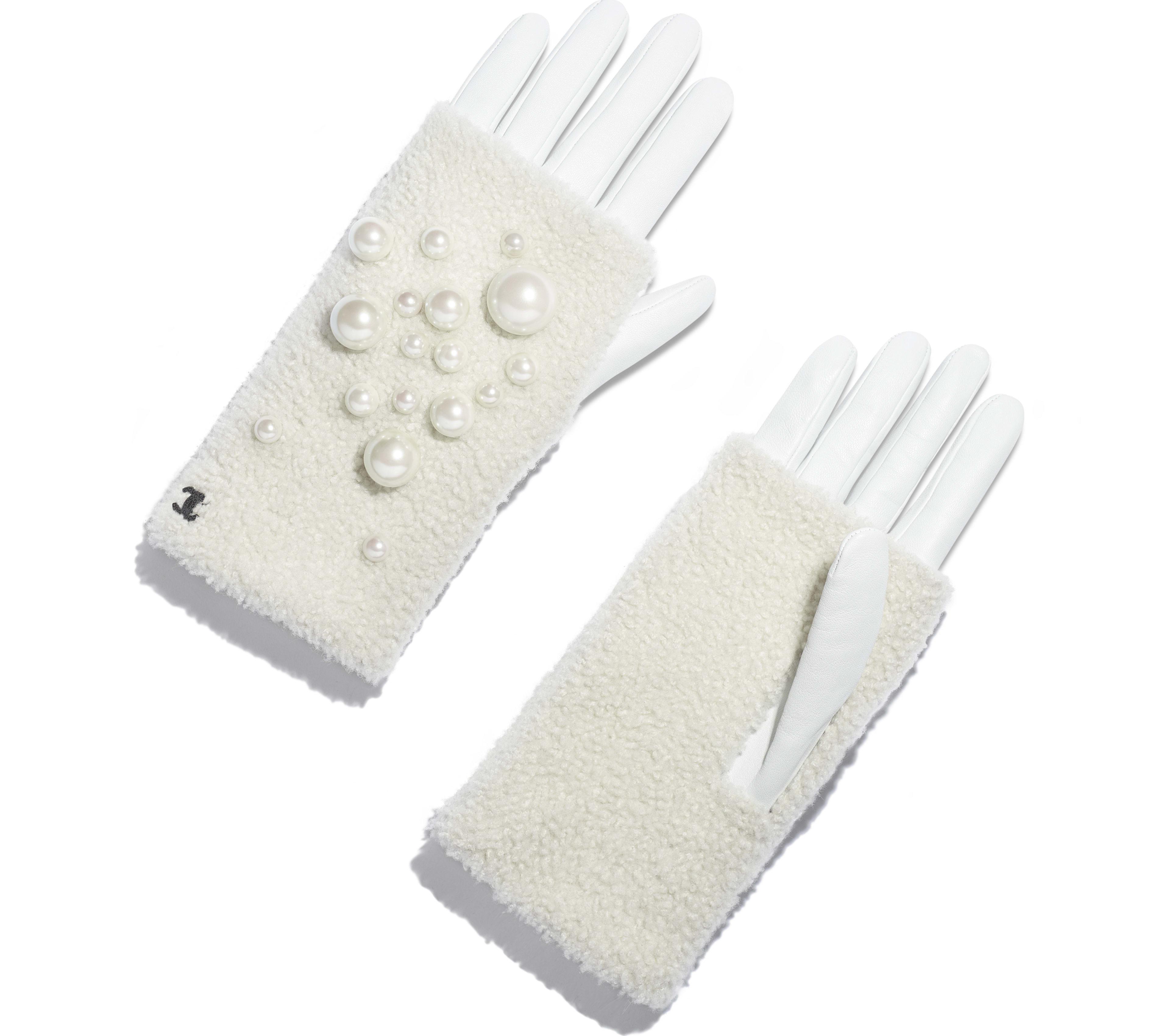 Lambskin, Shearling & Pearls White & Ivory