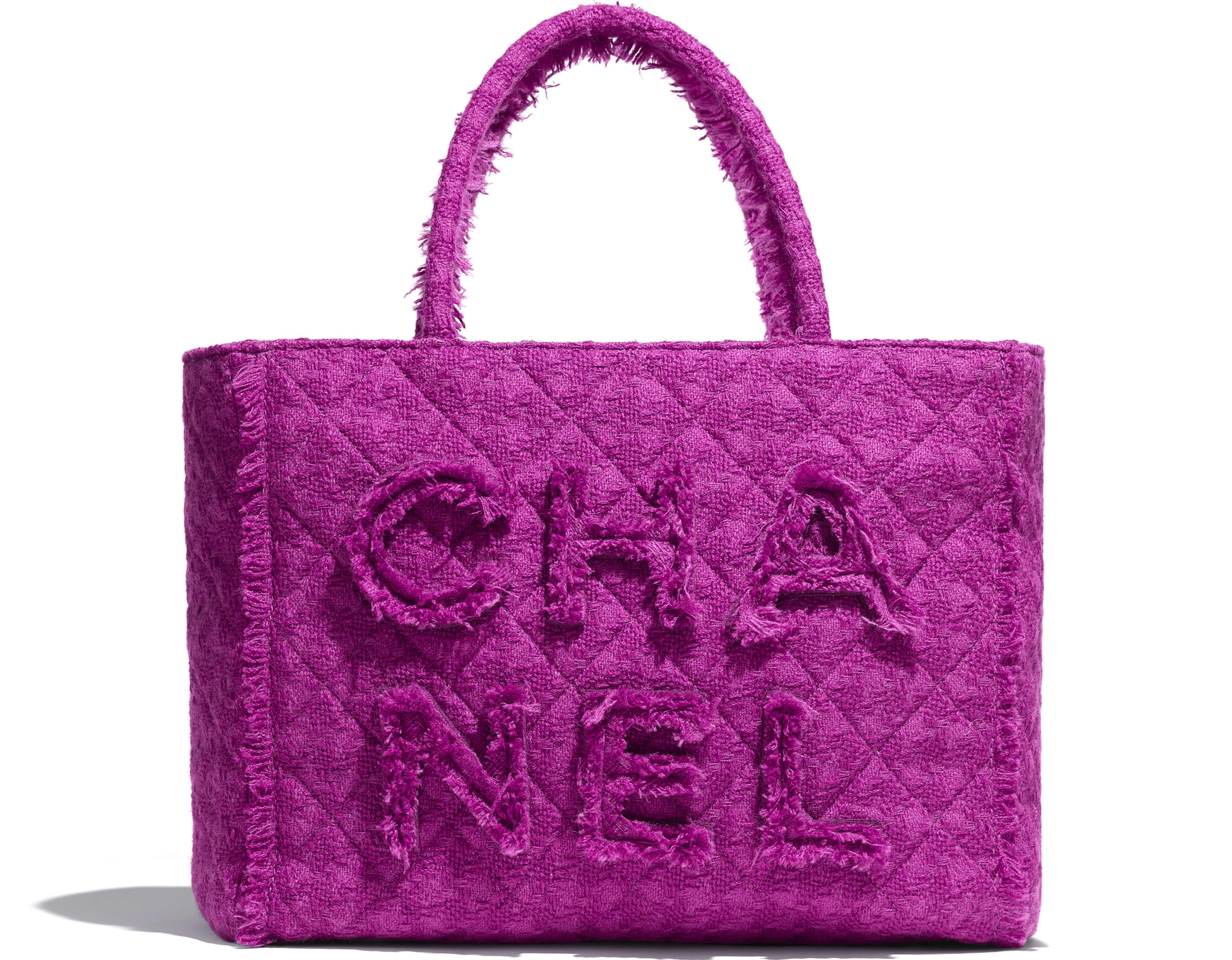 Wool Tweed Gold Tone Metal Pink Large Zipped Ping Bag Chanel