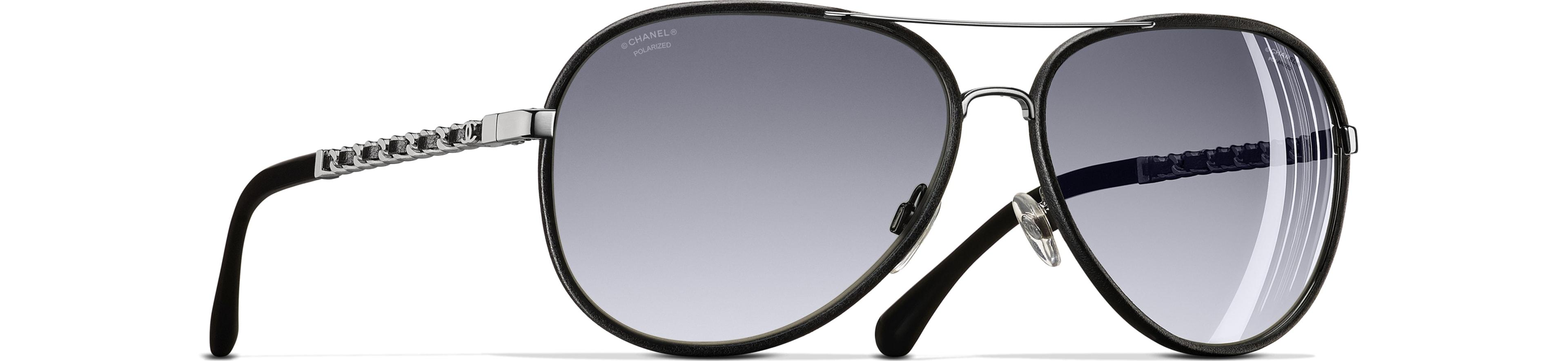 Metal & Calfskin - Polarized Lenses black frame. Gray gradient lenses