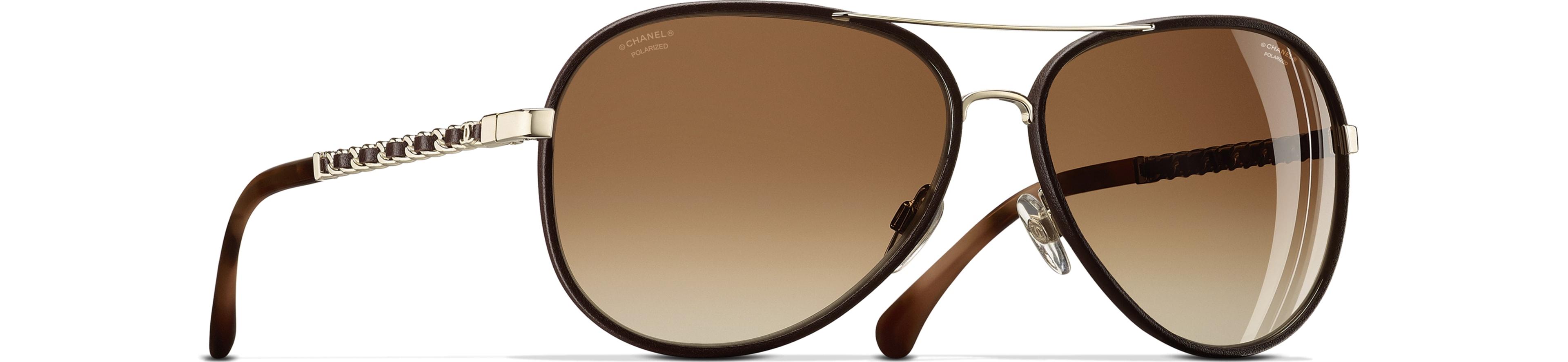 Metal & Calfskin - Polarized Lenses gold & brown frame. Brown gradient lenses