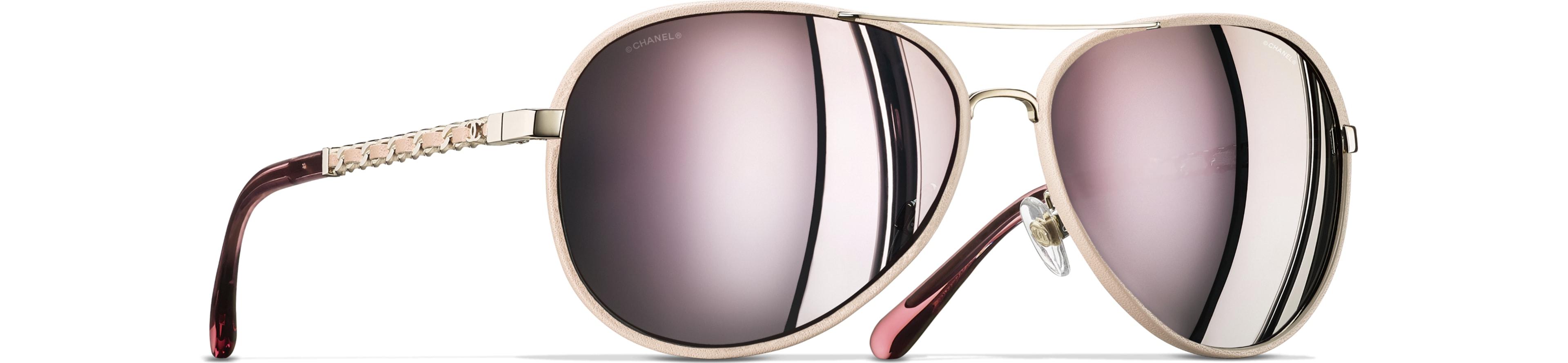 Metal & Calfskin light pink & gold frame. Pink mirror lenses