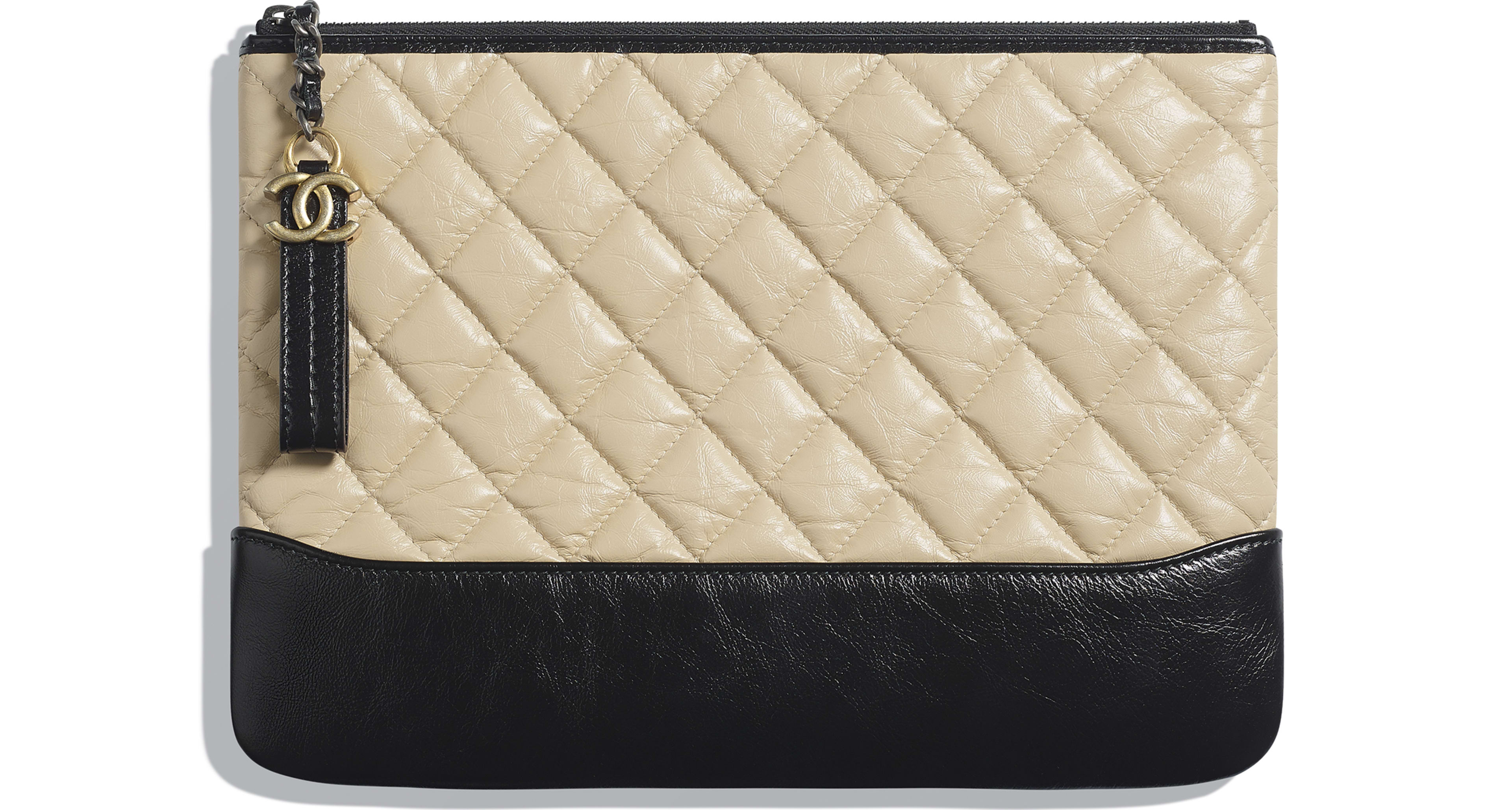 Aged Calfskin, Smooth Calfskin, Silver-Tone & Gold-Tone Metal Beige & Black