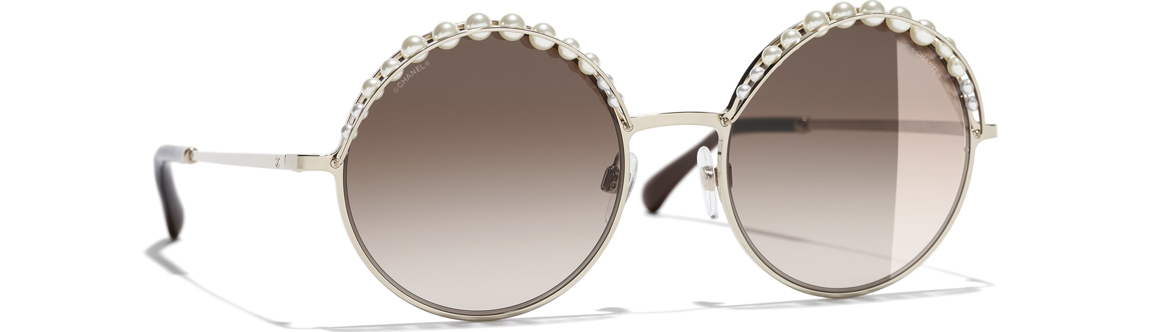 Metal & Imitation Pearls gold frame. Light Brown gradient lenses