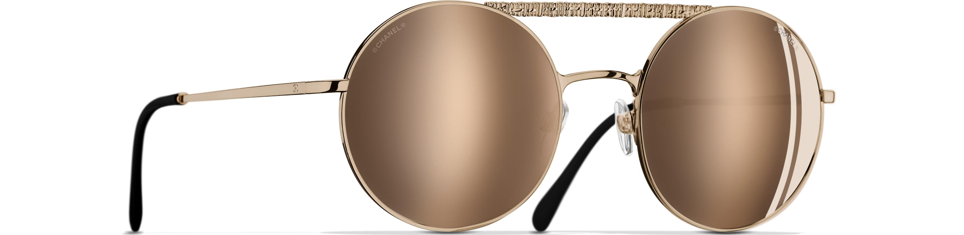 Metal gold frame. 18-Karat Gold mirror lenses
