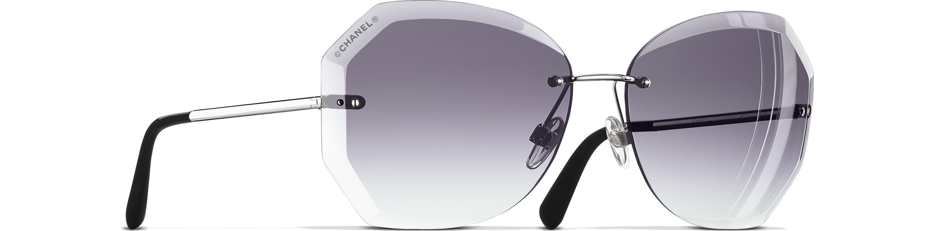 Metal silver & grey frame. Grey gradient lenses