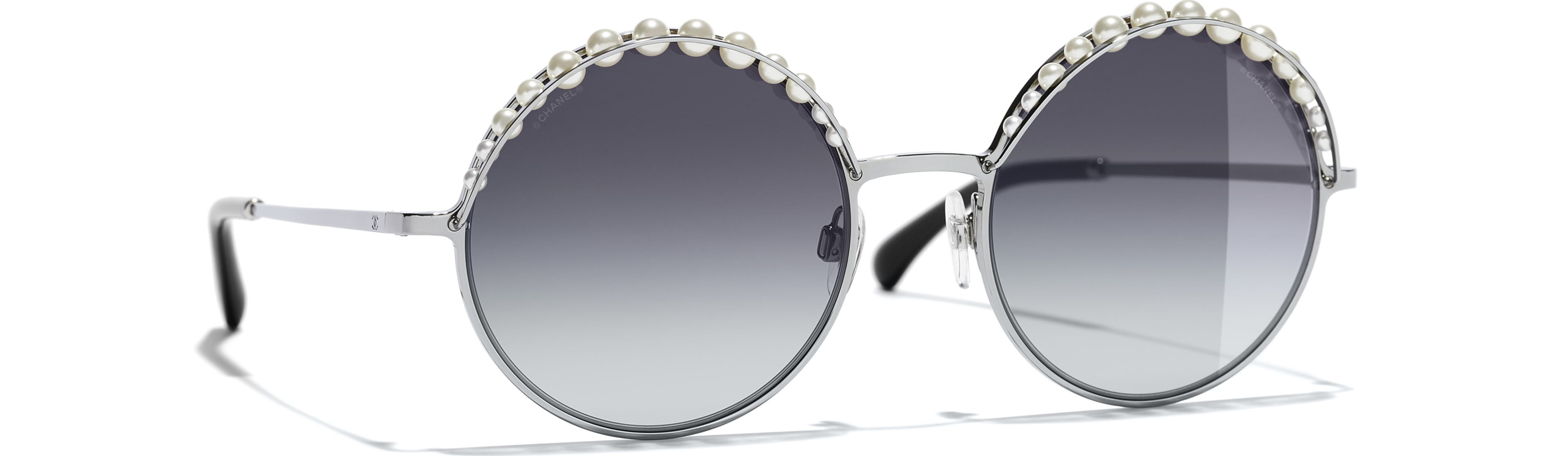 Metal & Imitation Pearls silver frame. Grey gradient lenses