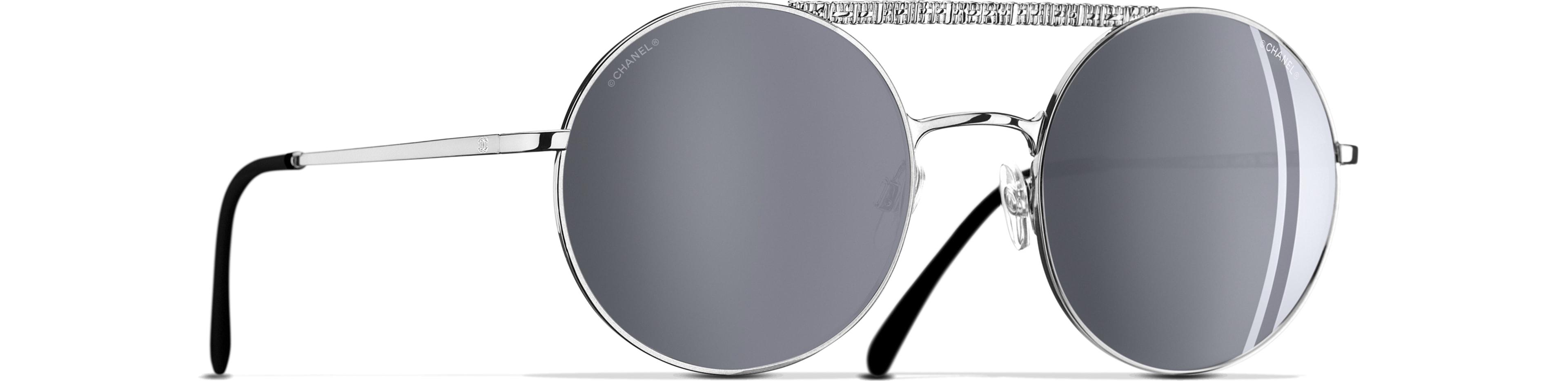 Metal silver frame. Silver mirror lenses