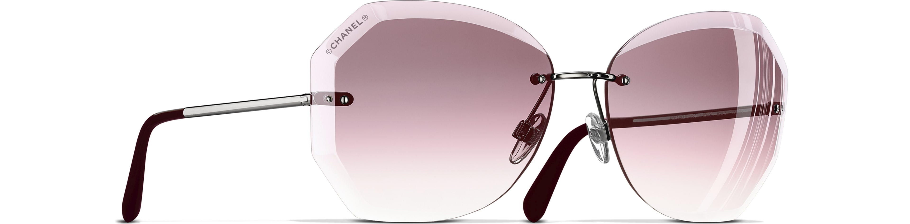Metal silver & pink frame. Pink gradient lenses