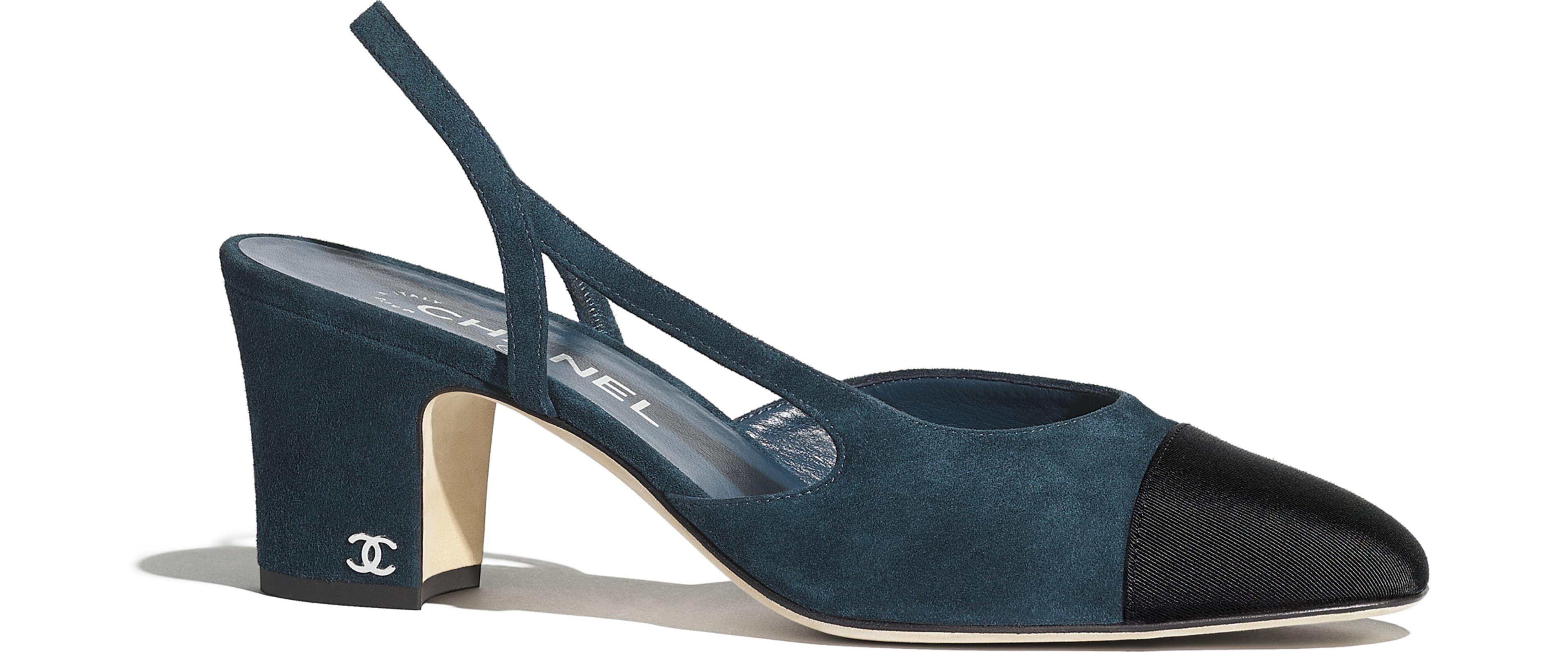 Suede Calfskin & Grosgrain Blue & Black