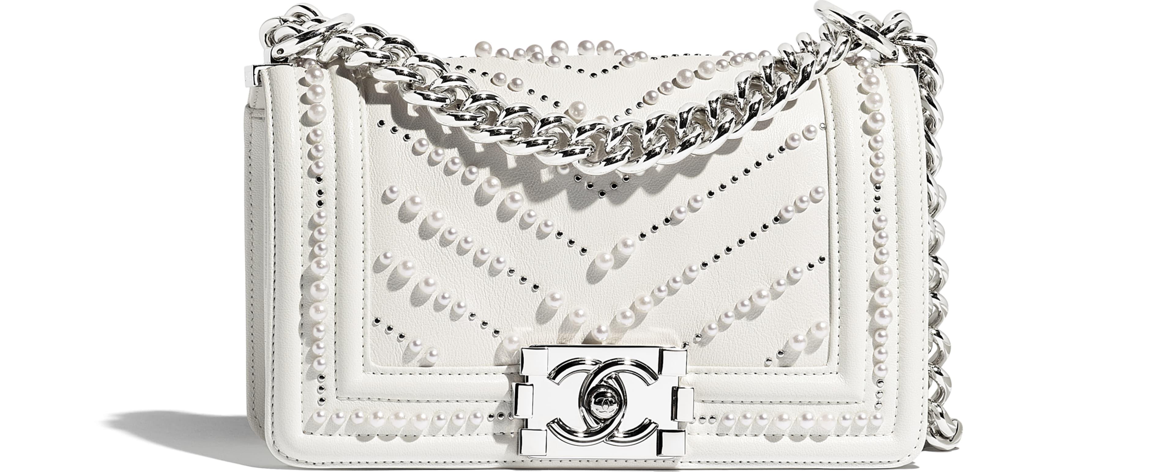 Calfskin, Imitation Pearls & Silver-Tone Metal White