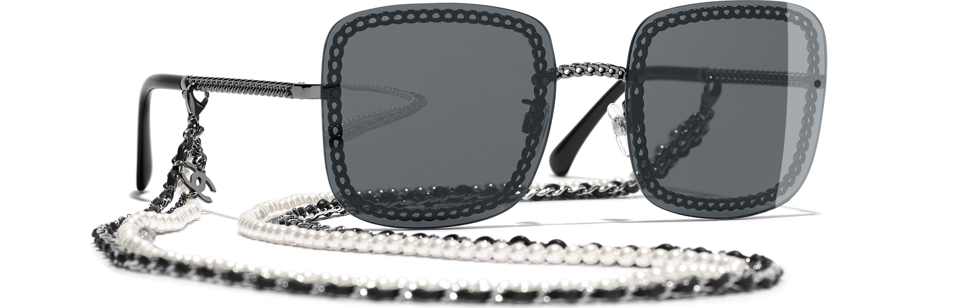 Metal, Calfskin & Imitation Pearls dark silver frame. Grey  lenses