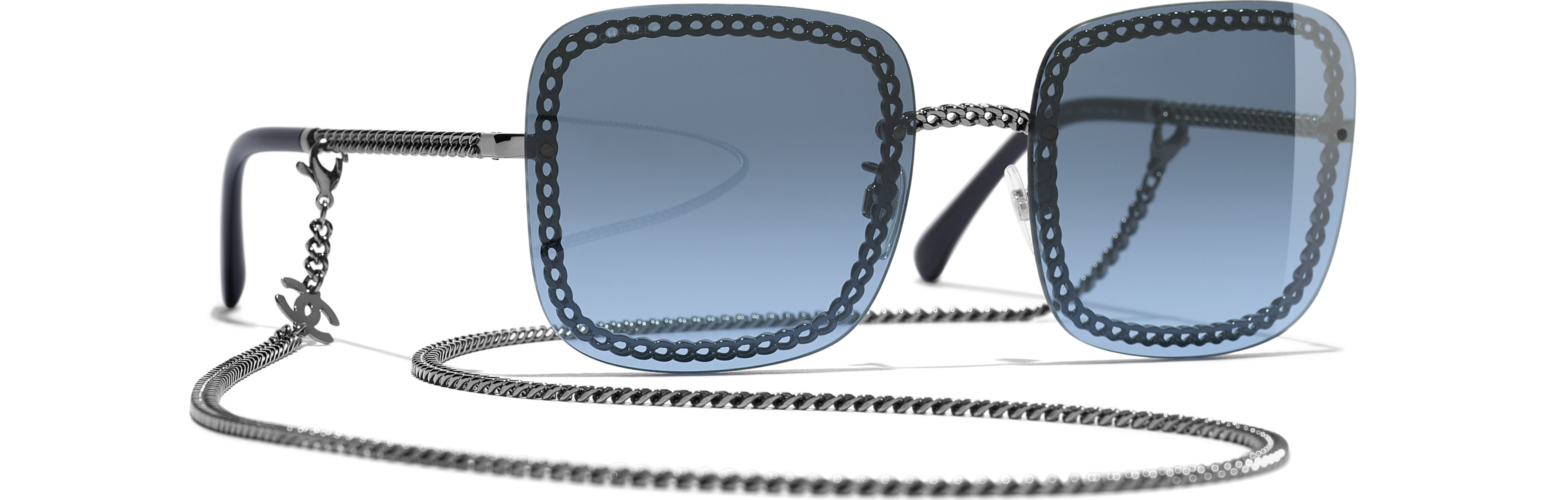 Metal dark silver frame. Blue gradient lenses
