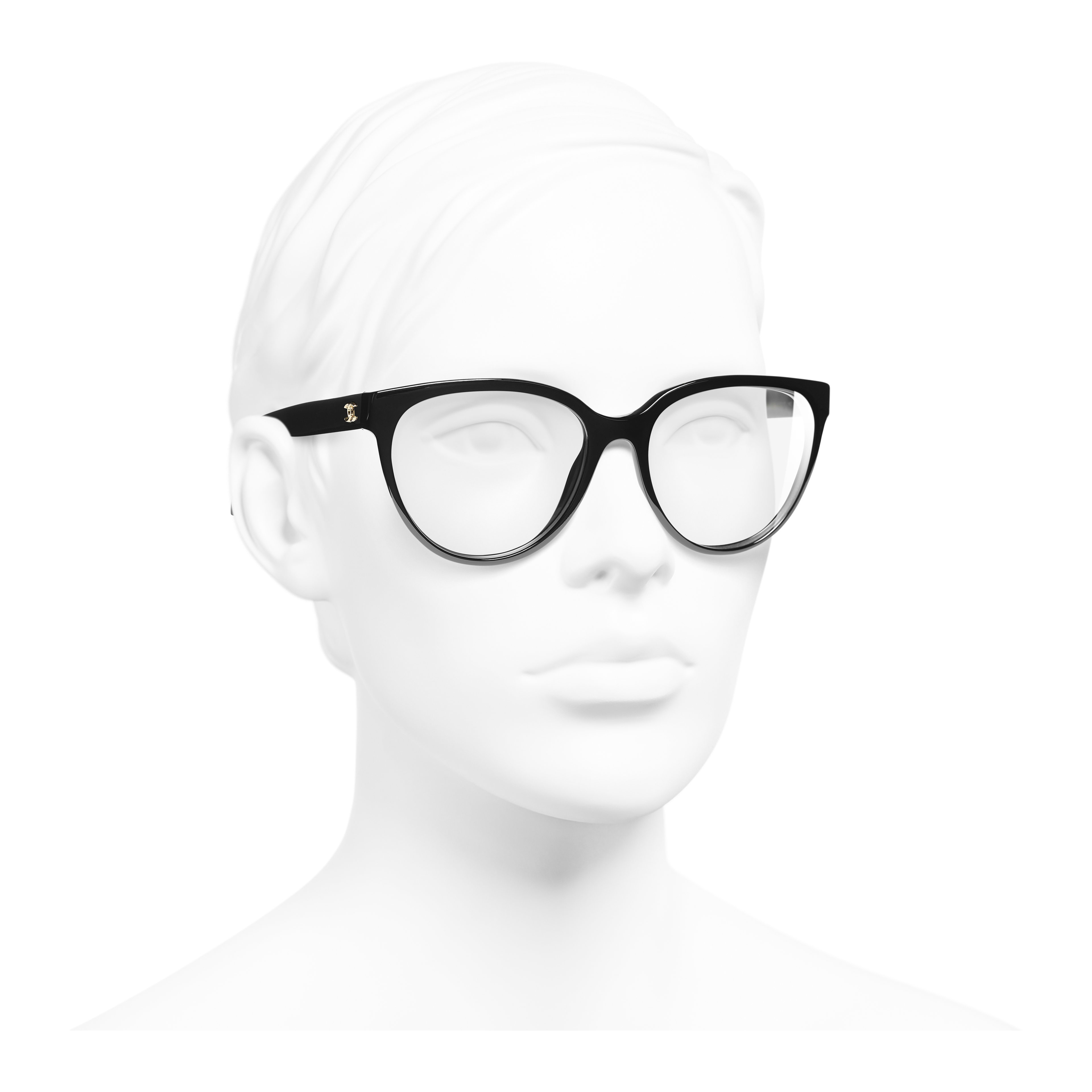Butterfly Eyeglasses - Black - Acetate - Worn 3/4 view - see full sized version