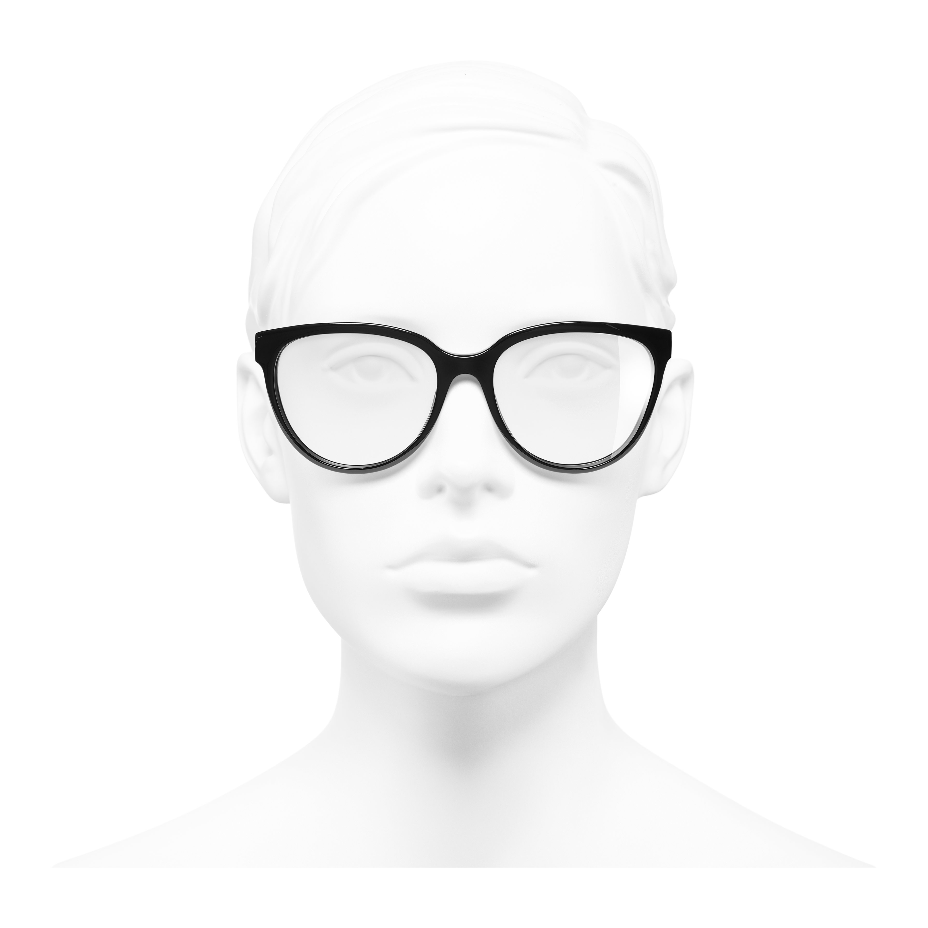Butterfly Eyeglasses - Black - Acetate - Worn front view - see full sized version
