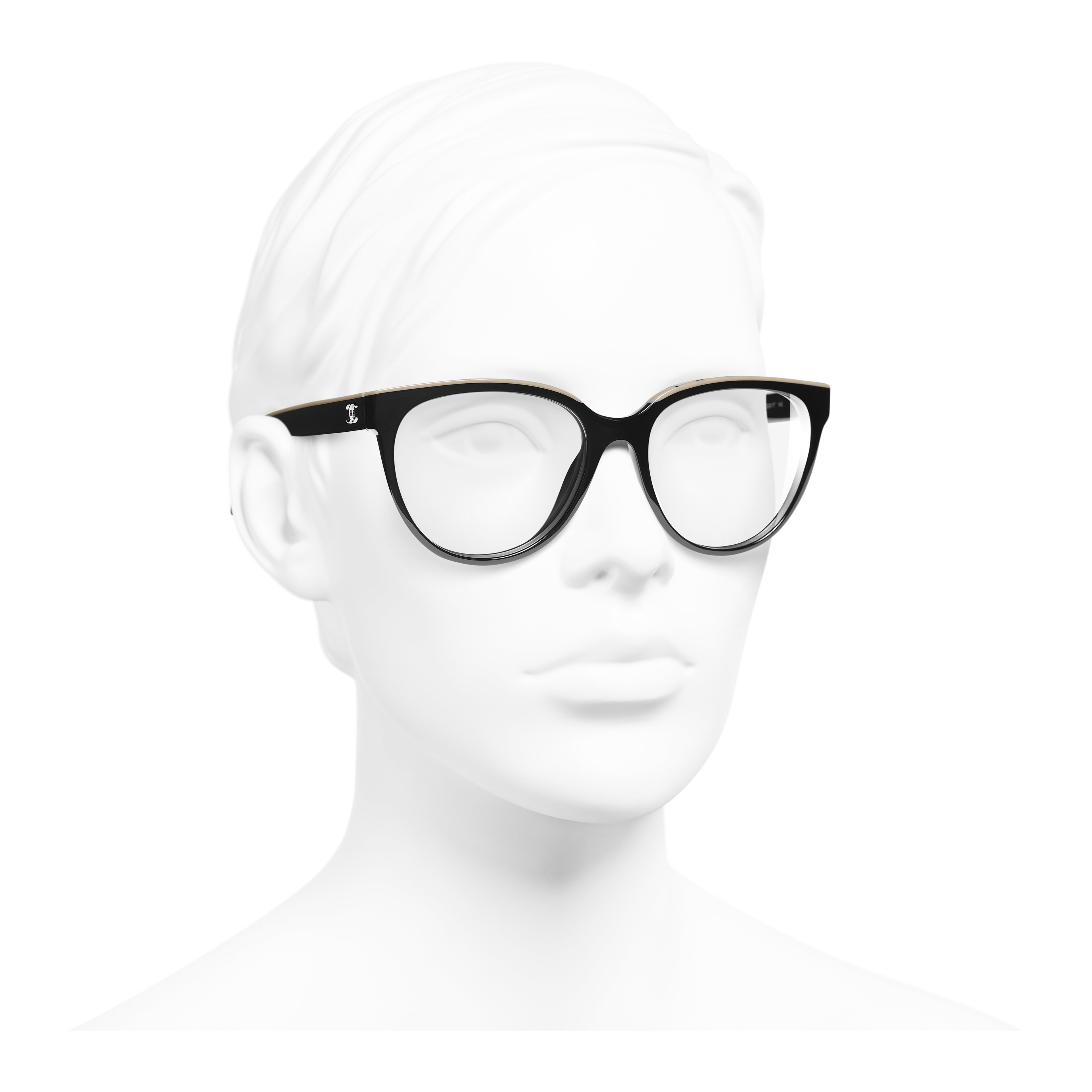 Butterfly Eyeglasses - Black & Beige - Acetate - Worn 3/4 view - see full sized version