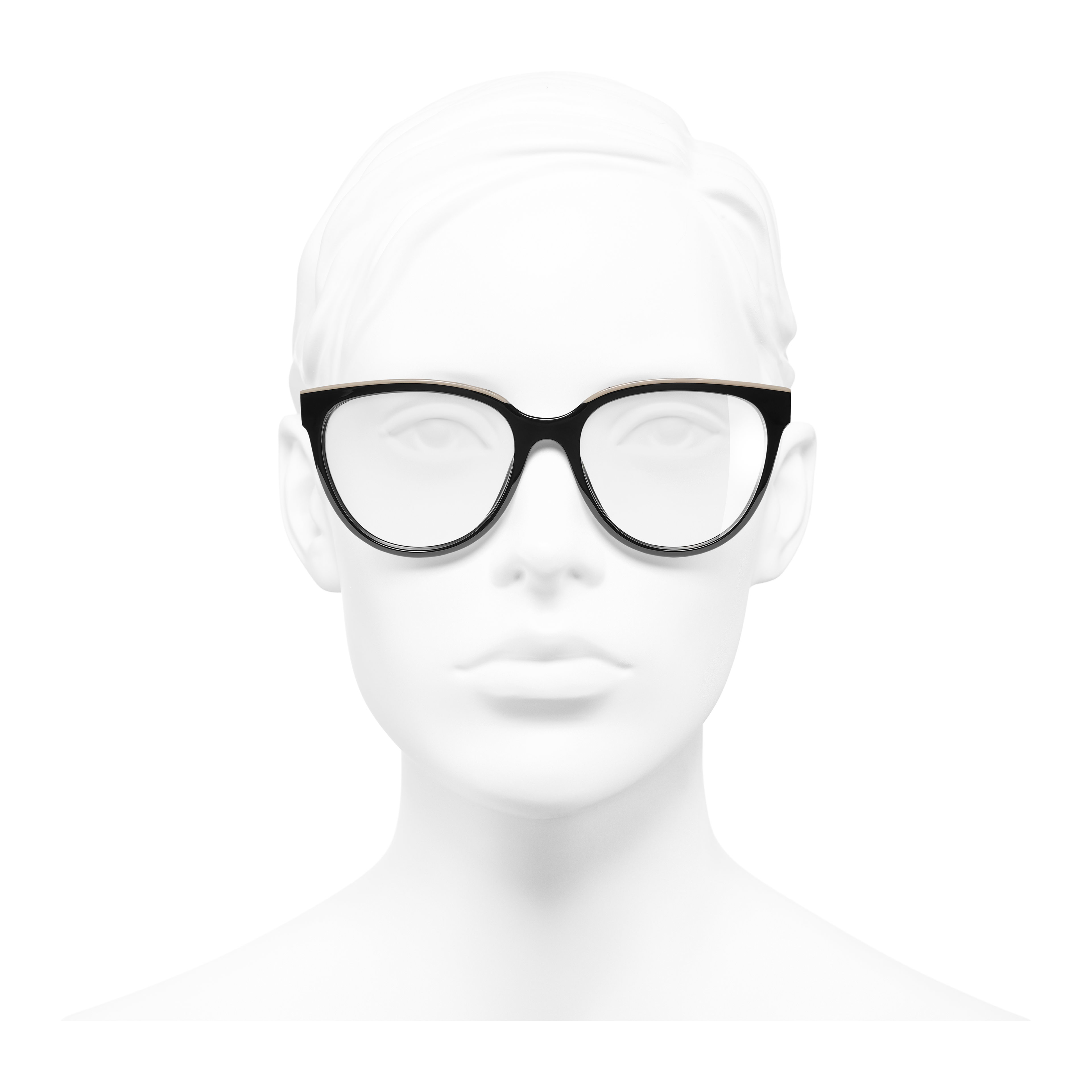 Butterfly Eyeglasses - Black & Beige - Acetate - Worn front view - see full sized version