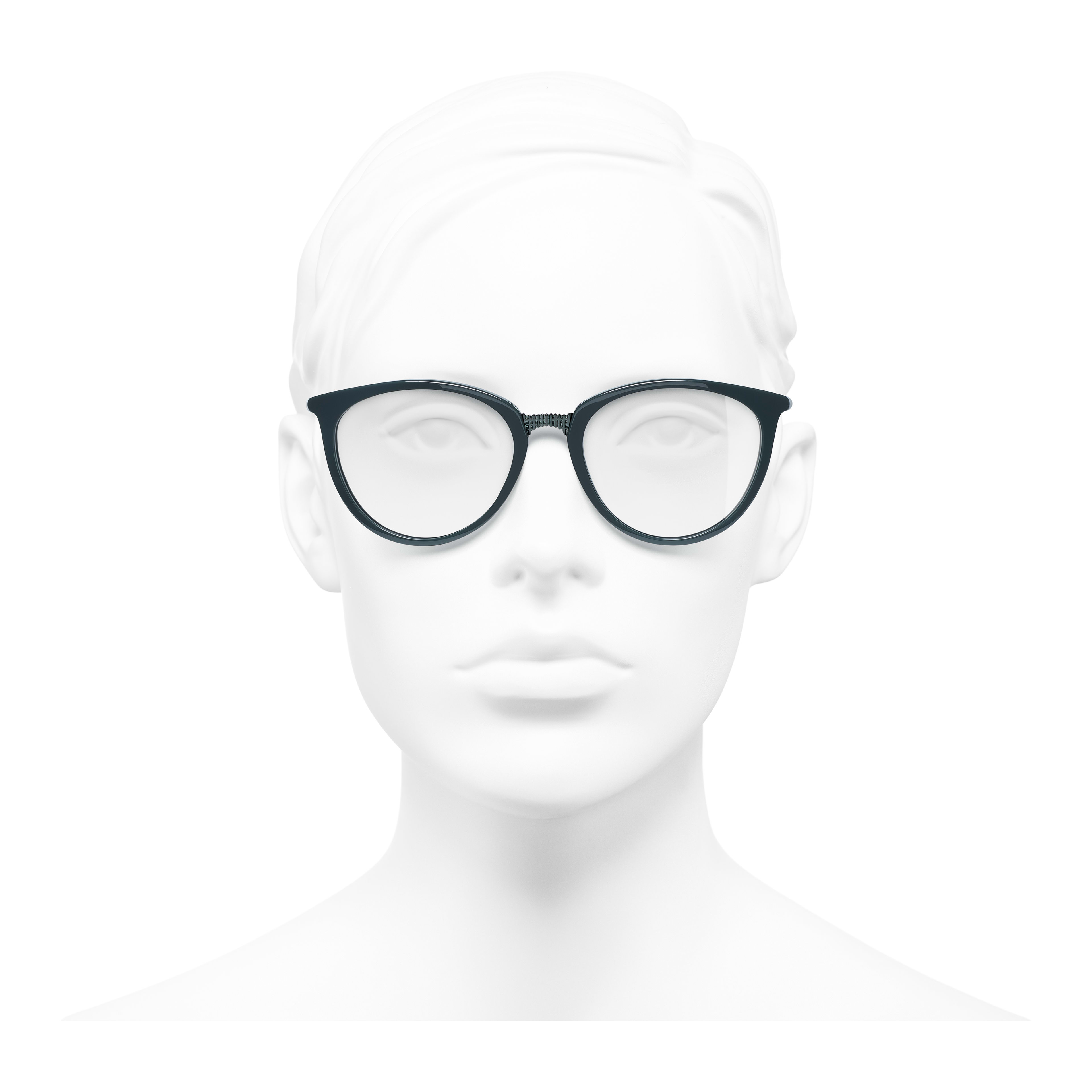 Butterfly Eyeglasses - Dark Green - Acetate - Worn front view - see full sized version