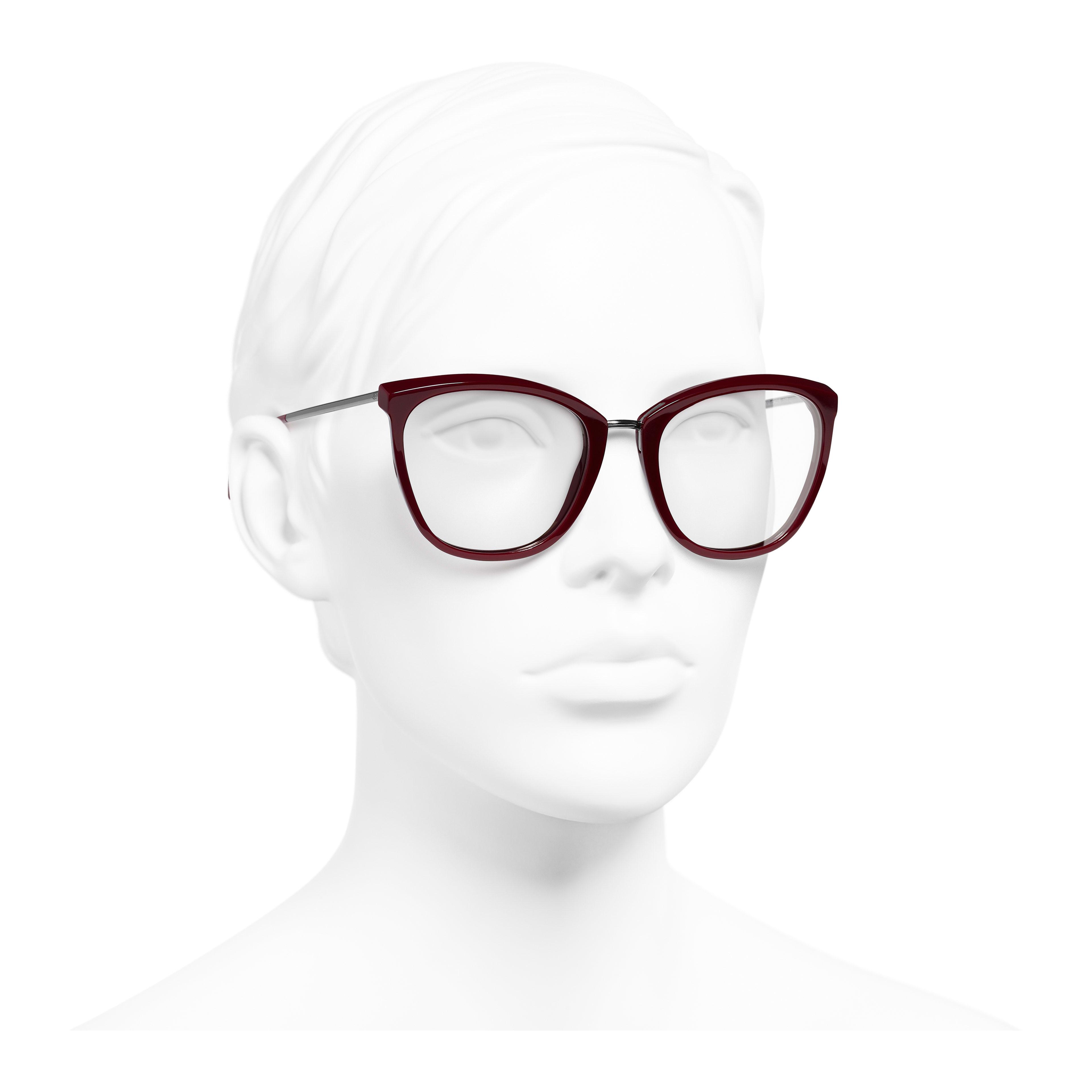 Butterfly Eyeglasses - Dark Red - Acetate & Metal - Worn 3/4 view - see full sized version