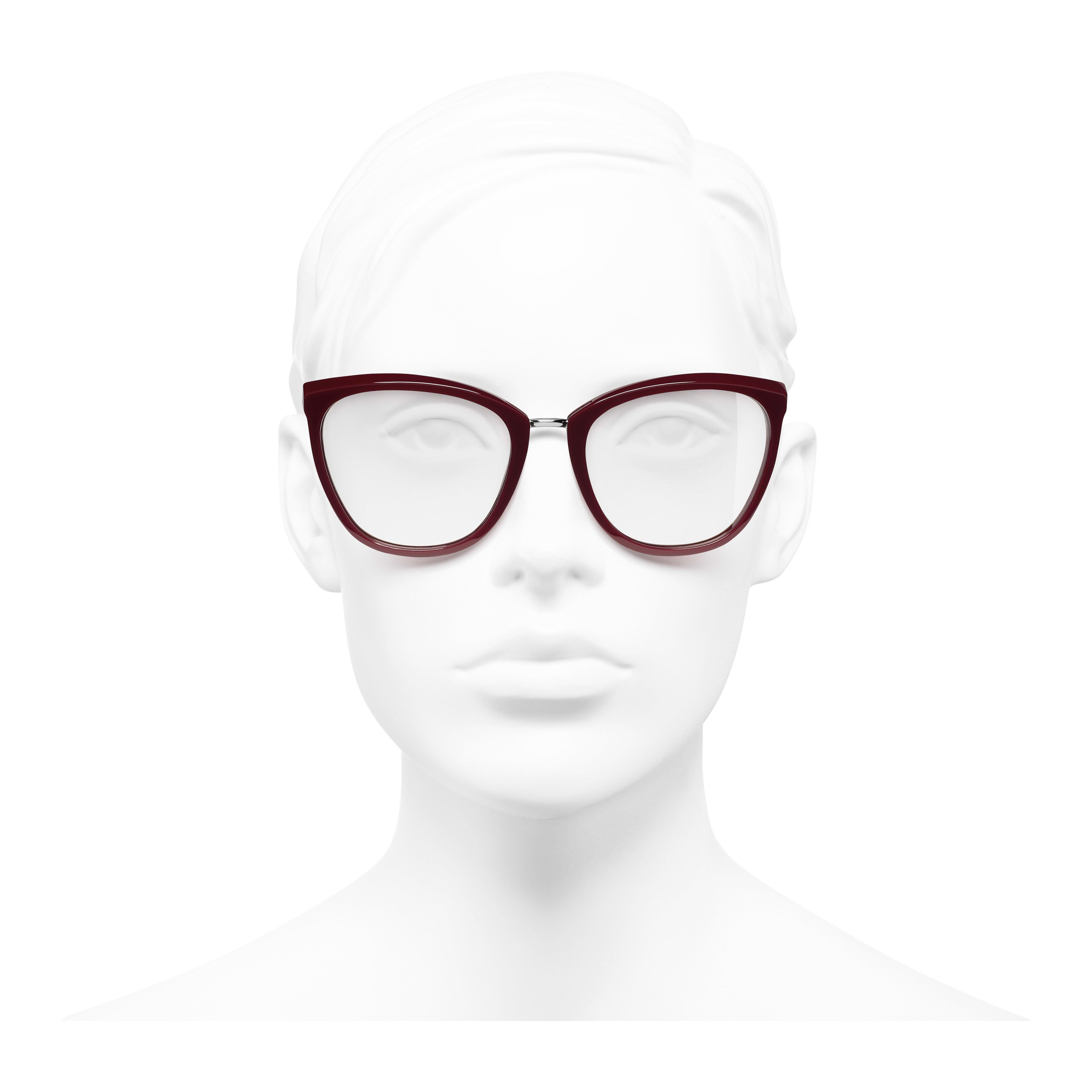 Butterfly Eyeglasses - Dark Red - Acetate & Metal - Worn front view - see full sized version