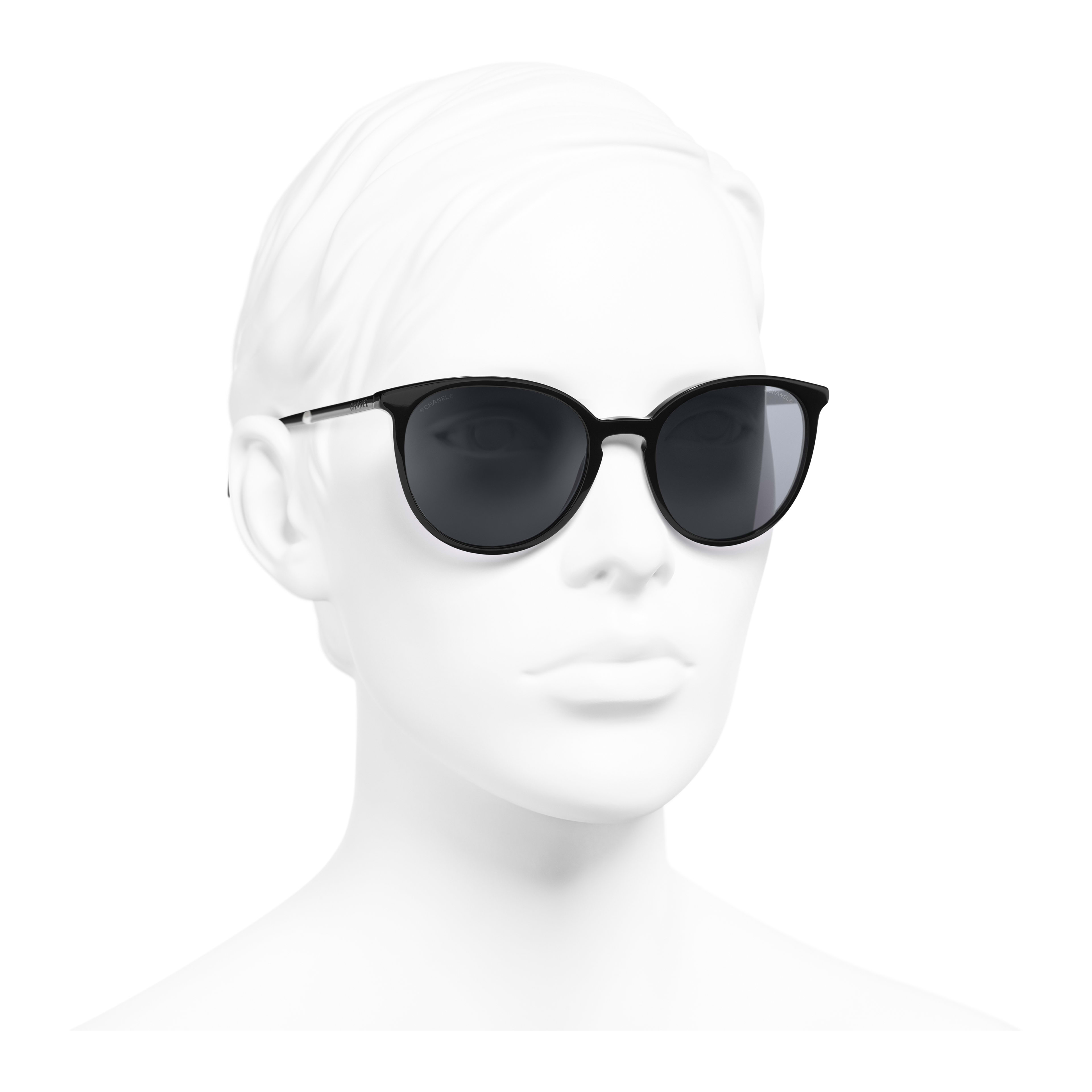 Butterfly Sunglasses - Black - Acetate & Imitation Pearls - Worn 3/4 view - see full sized version