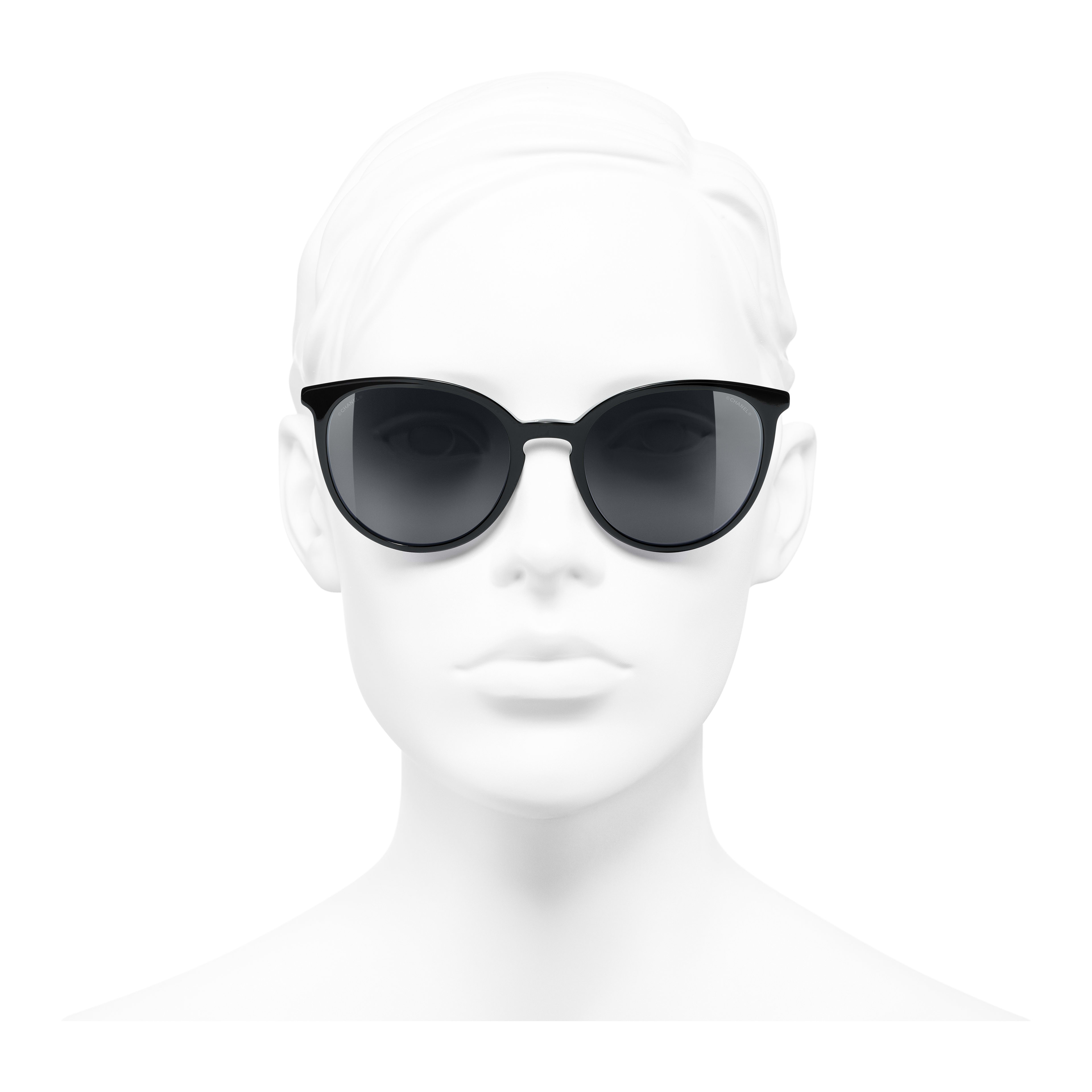 Butterfly Sunglasses - Black - Acetate & Imitation Pearls - Worn front view - see full sized version