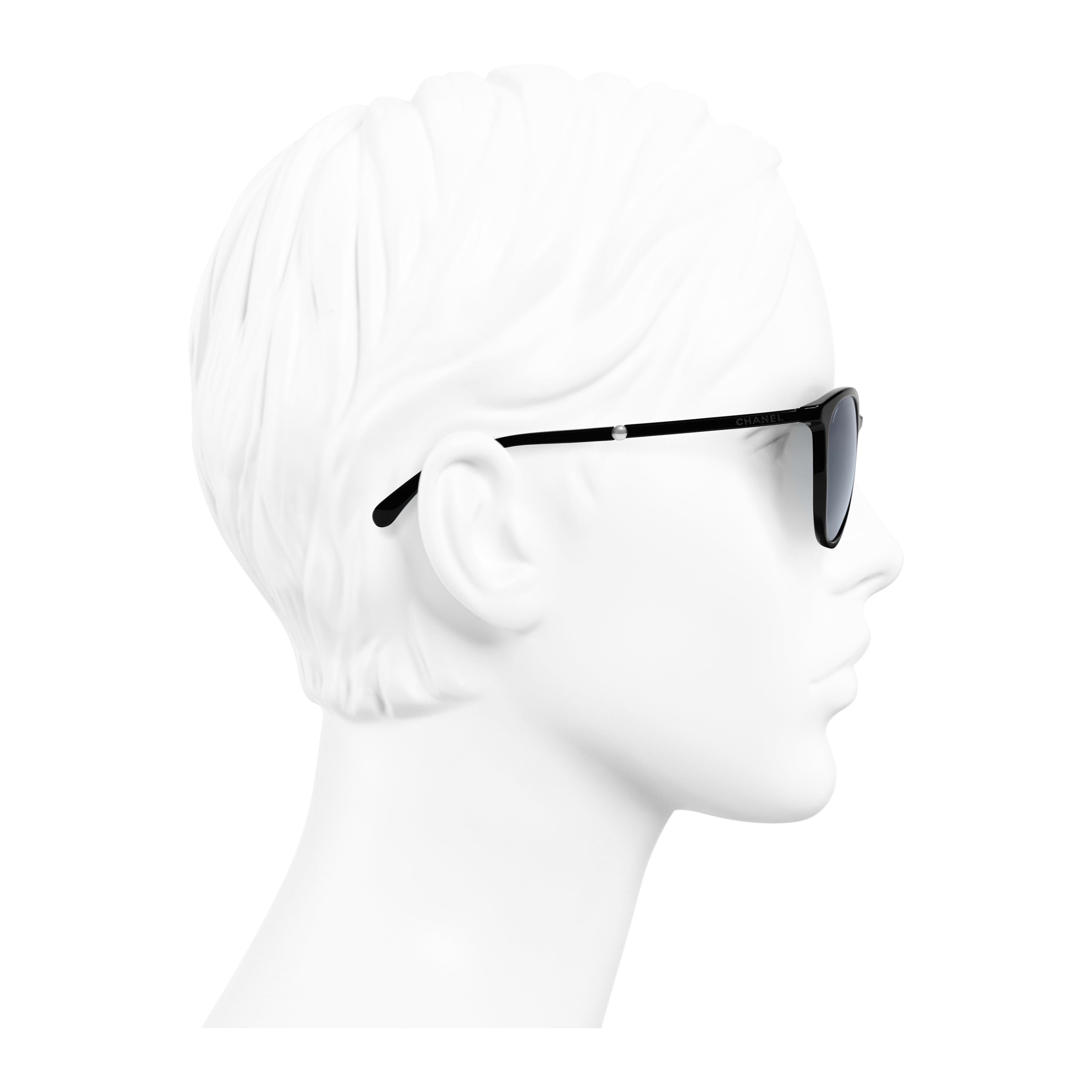 Butterfly Sunglasses - Black - Acetate & Imitation Pearls - Worn side view - see full sized version