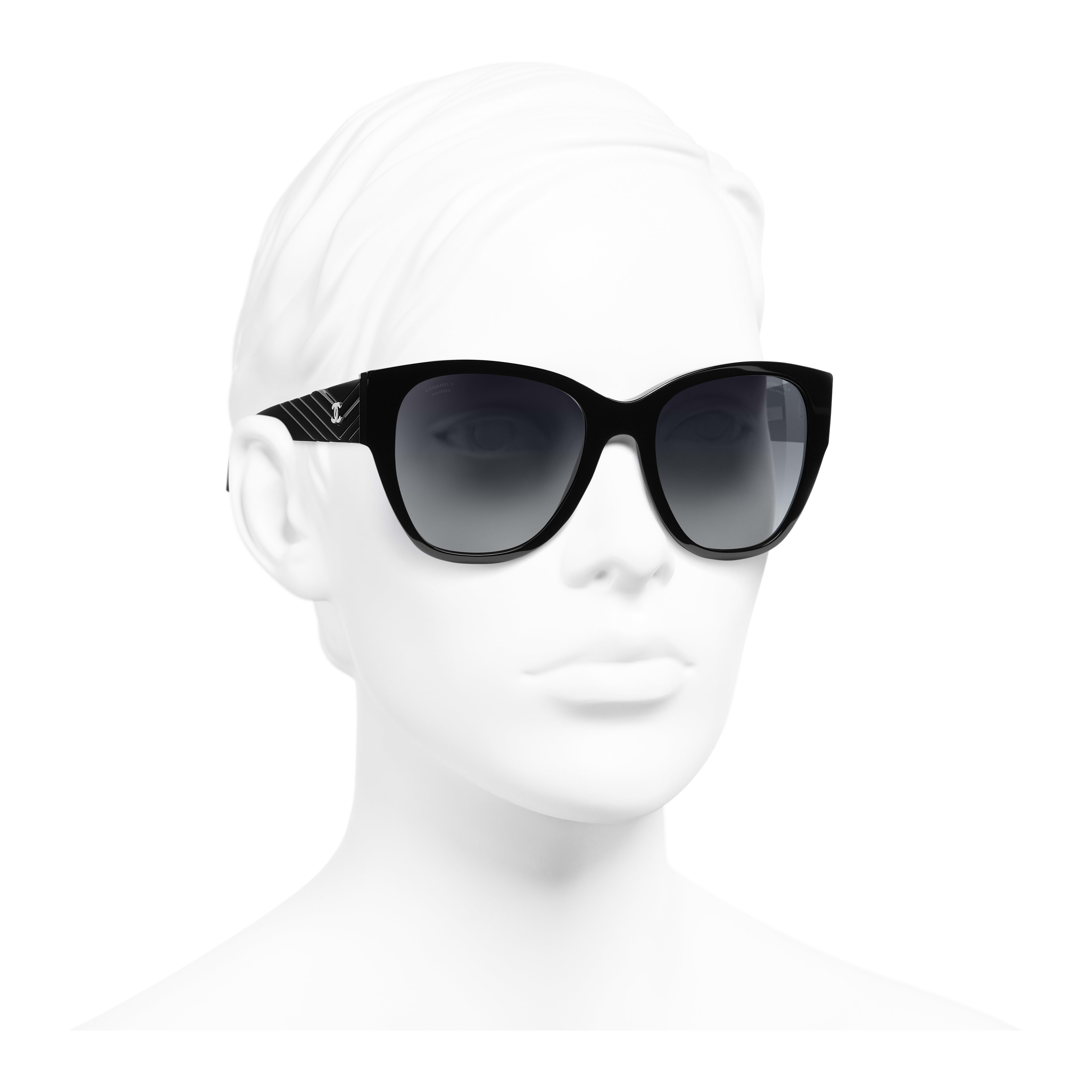 Butterfly Sunglasses - Black - Acetate - Polarised Lenses - Worn 3/4 view - see full sized version
