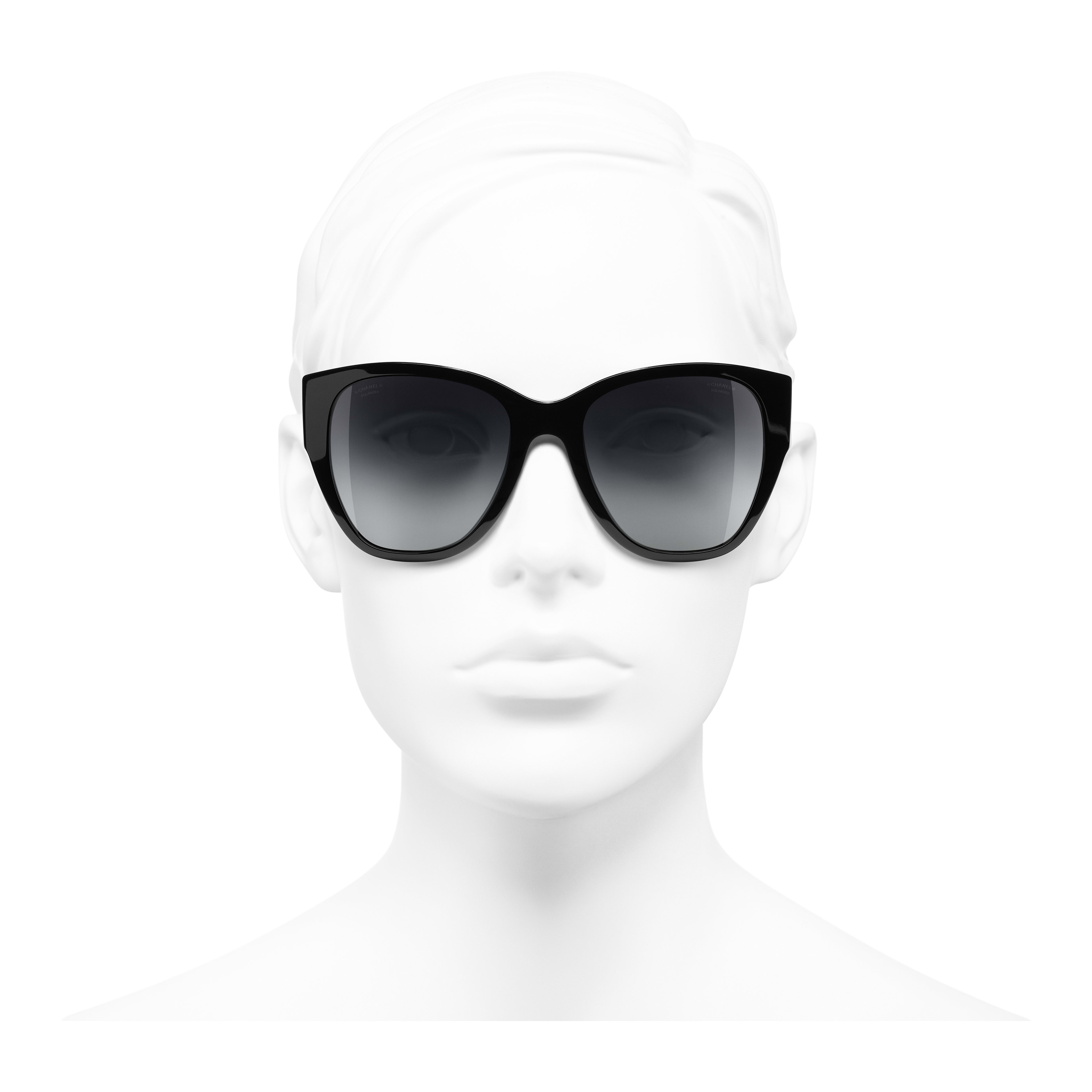 Butterfly Sunglasses - Black - Acetate - Polarised Lenses - Worn front view - see full sized version