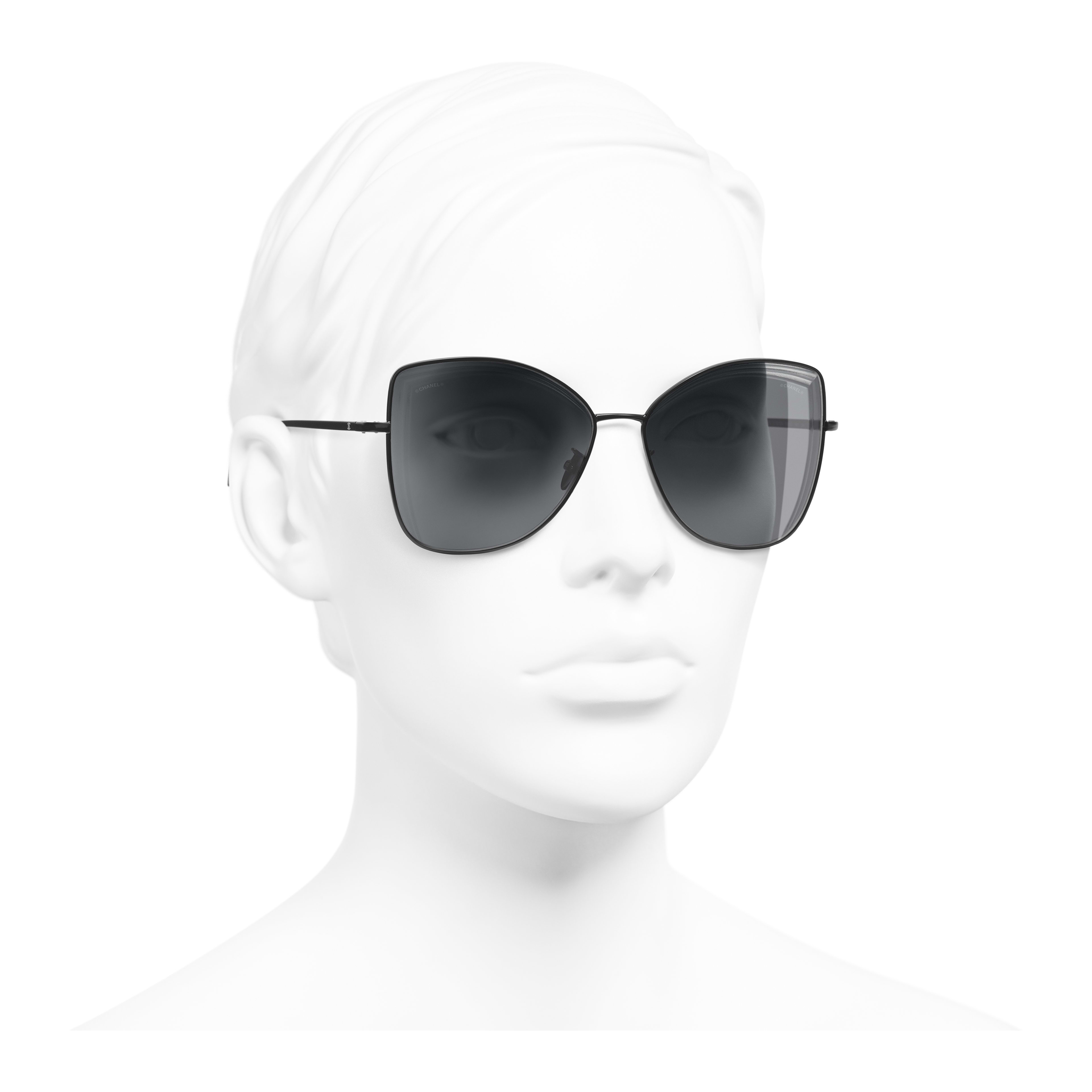 Butterfly Sunglasses - Black - Metal - Worn 3/4 view - see full sized version