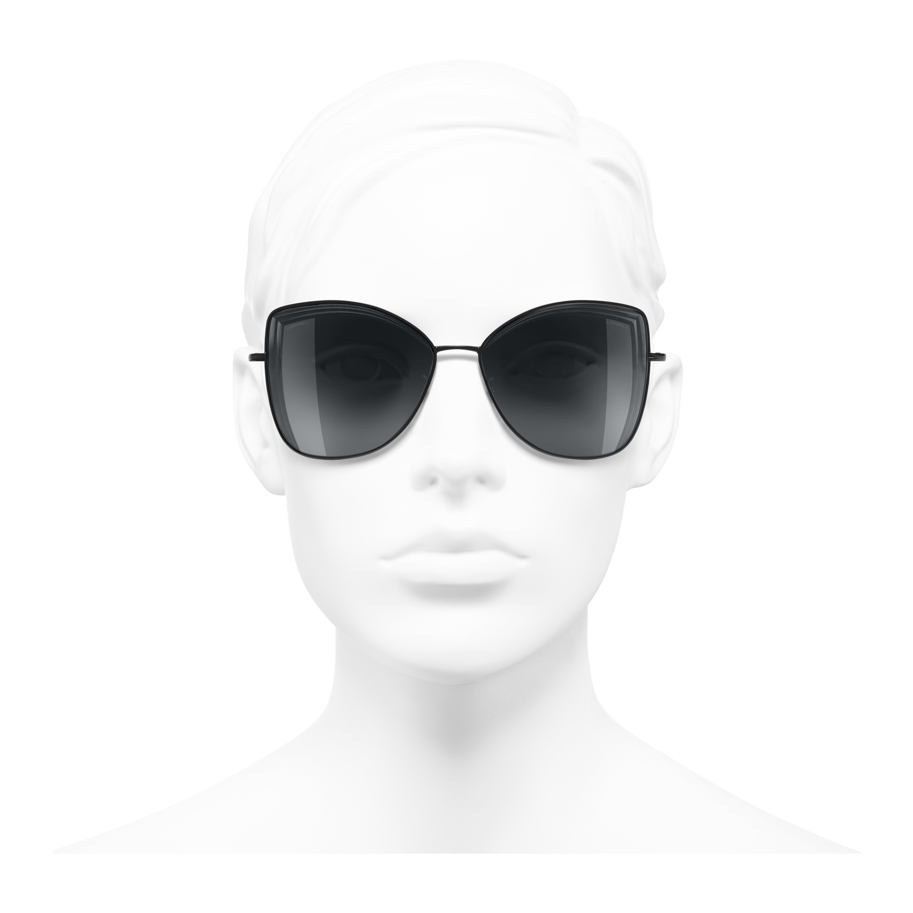 Butterfly Sunglasses - Black - Metal - Worn front view - see full sized version