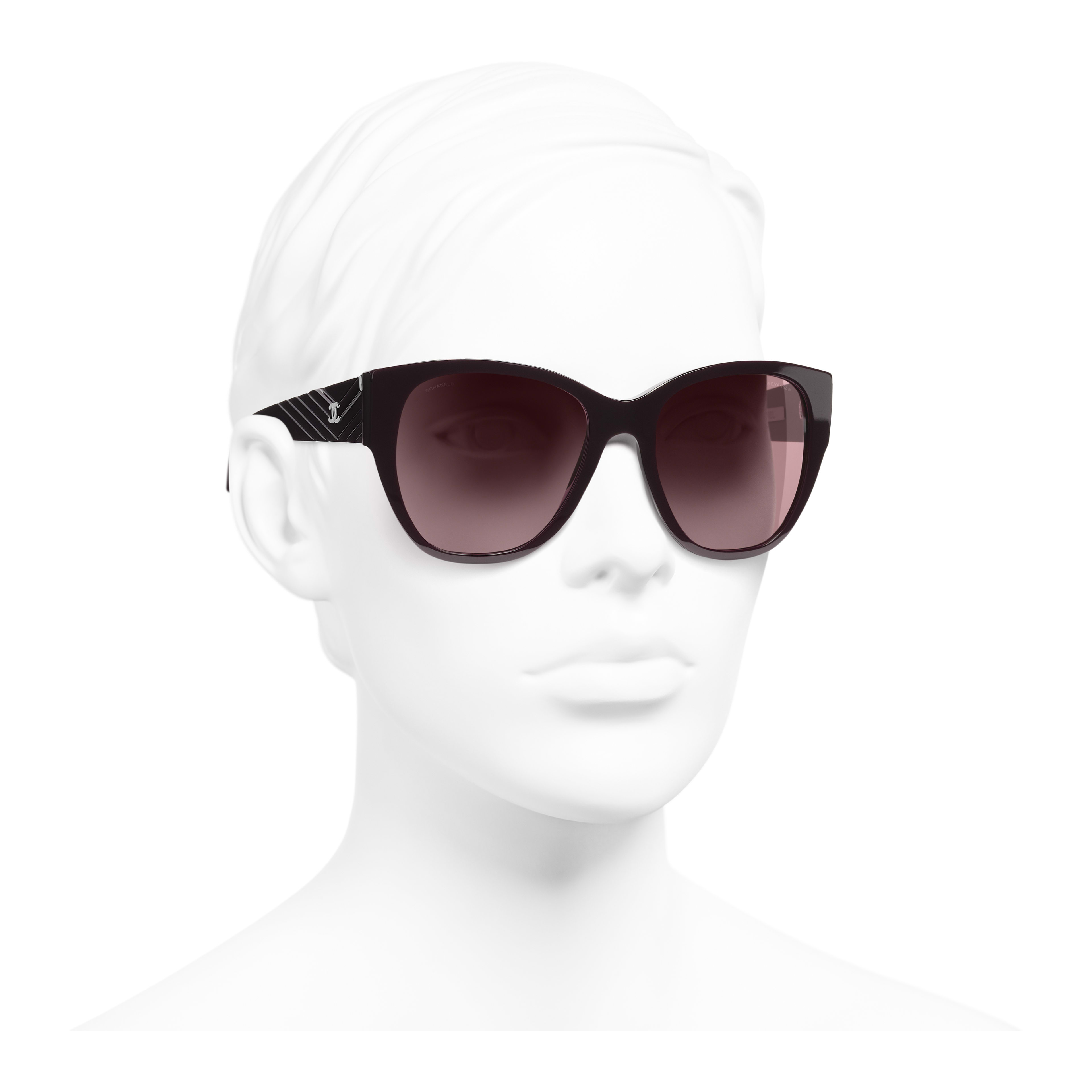 Butterfly Sunglasses - Burgundy - Acetate - Worn 3/4 view - see full sized version