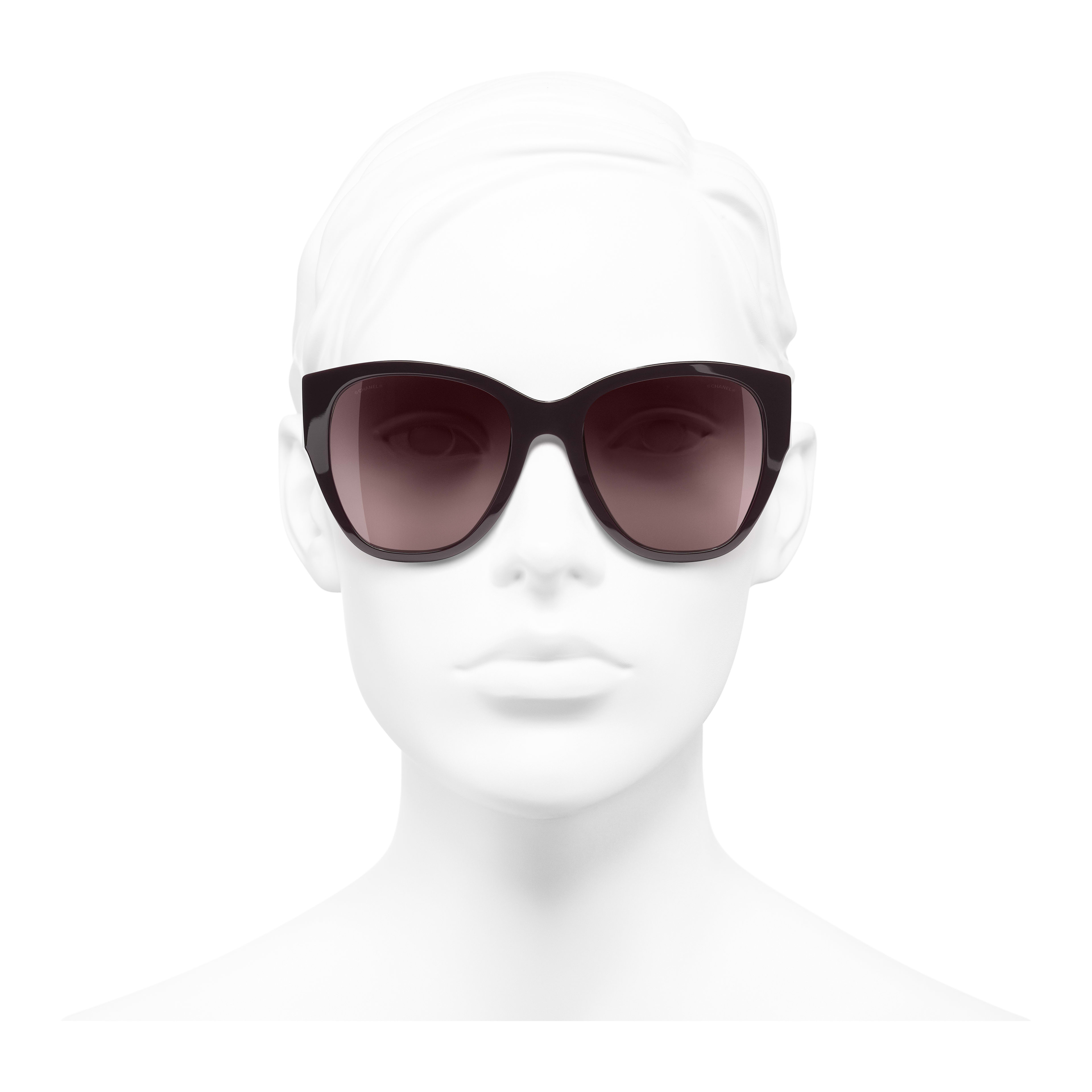 Butterfly Sunglasses - Burgundy - Acetate - Worn front view - see full sized version