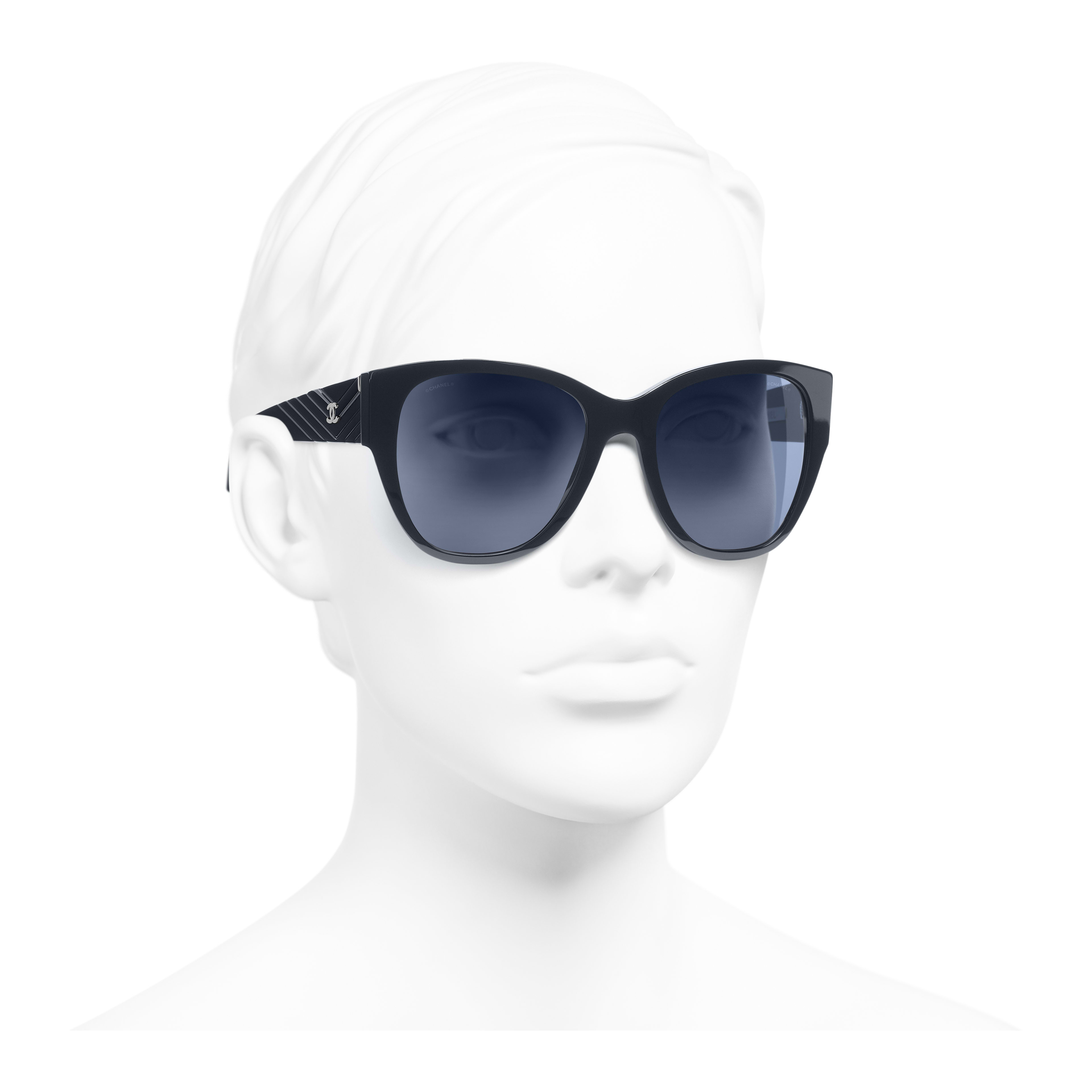 Butterfly Sunglasses - Dark Blue - Acetate - Worn 3/4 view - see full sized version