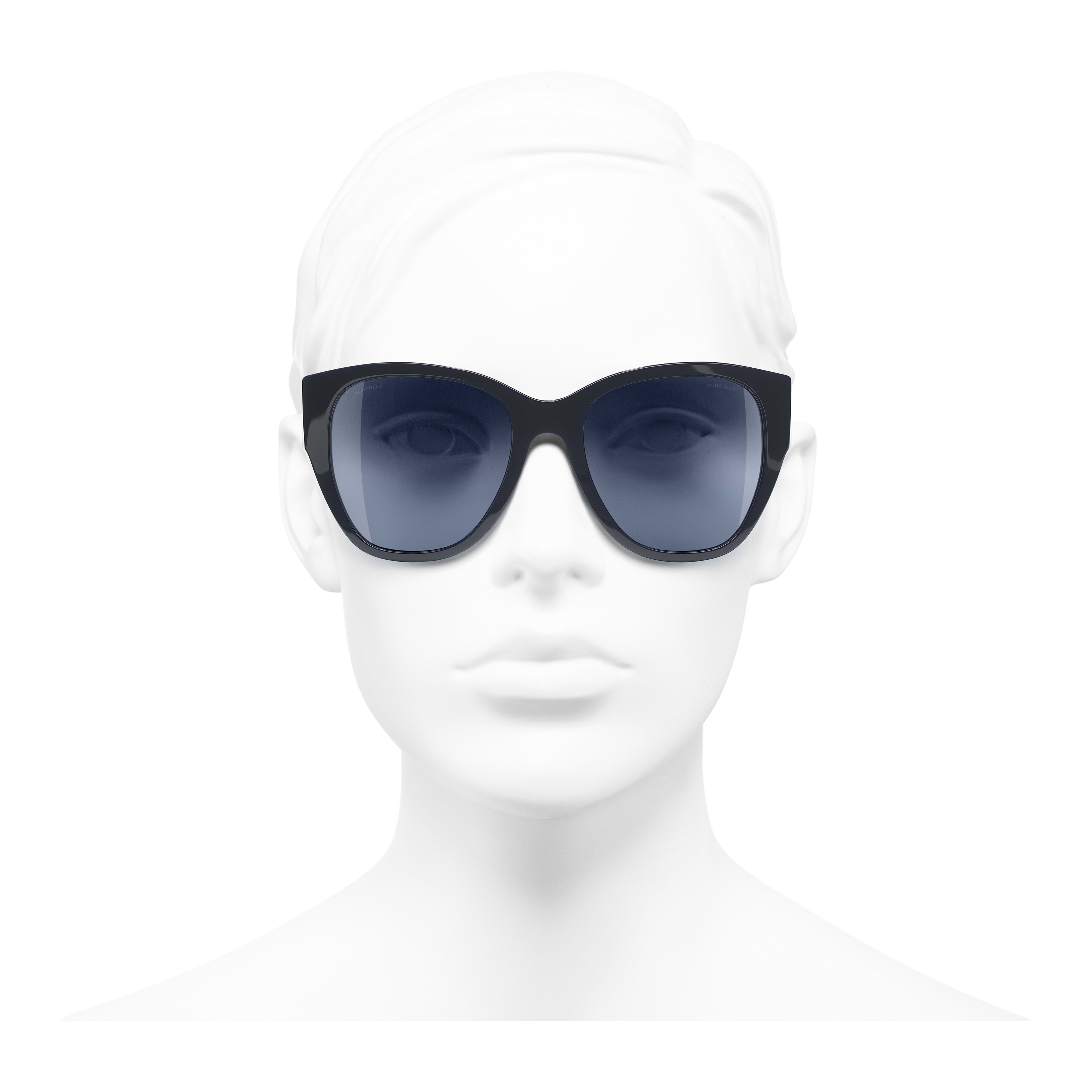 Butterfly Sunglasses - Dark Blue - Acetate - Worn front view - see full sized version