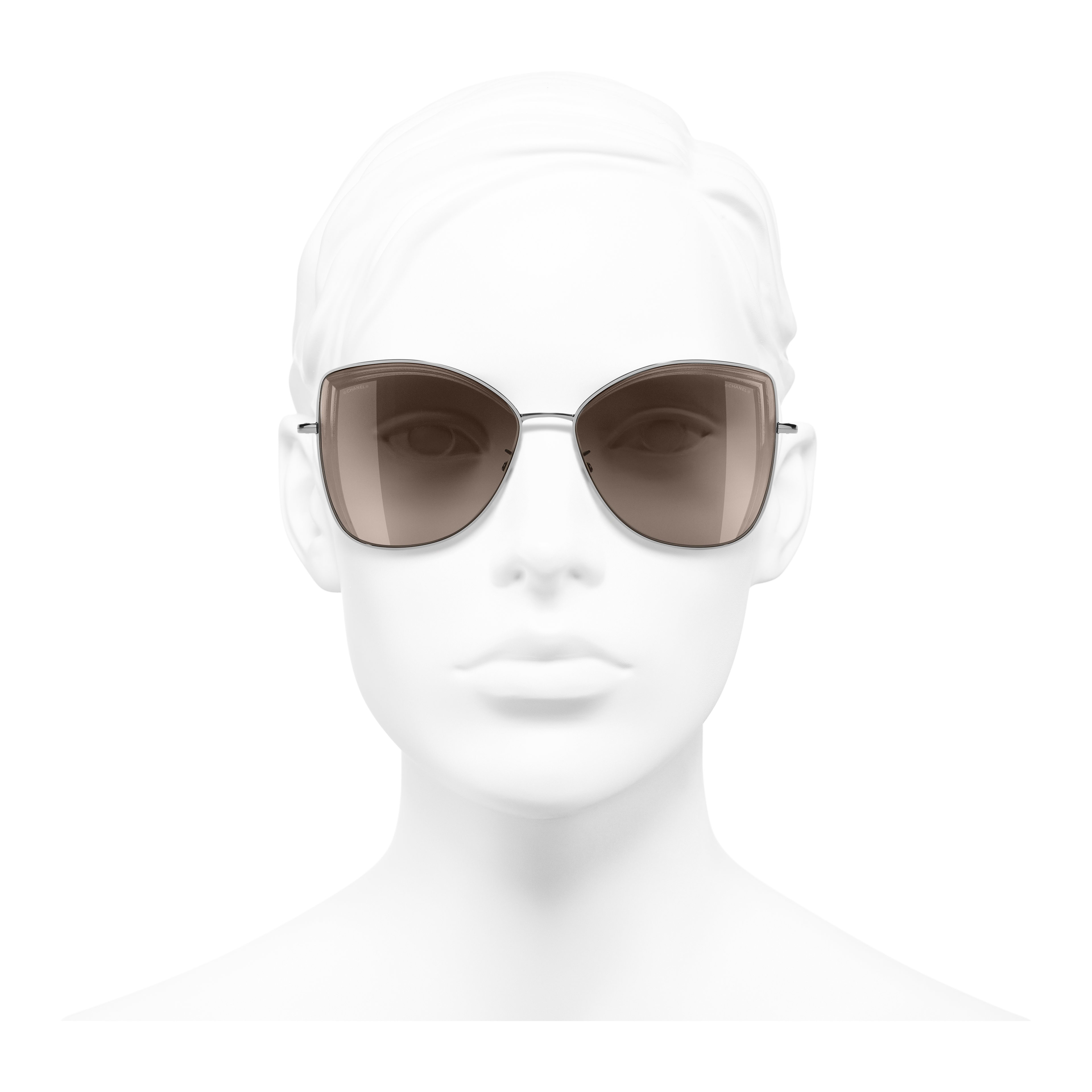 Butterfly Sunglasses - Dark Silver - Metal - Worn front view - see full sized version