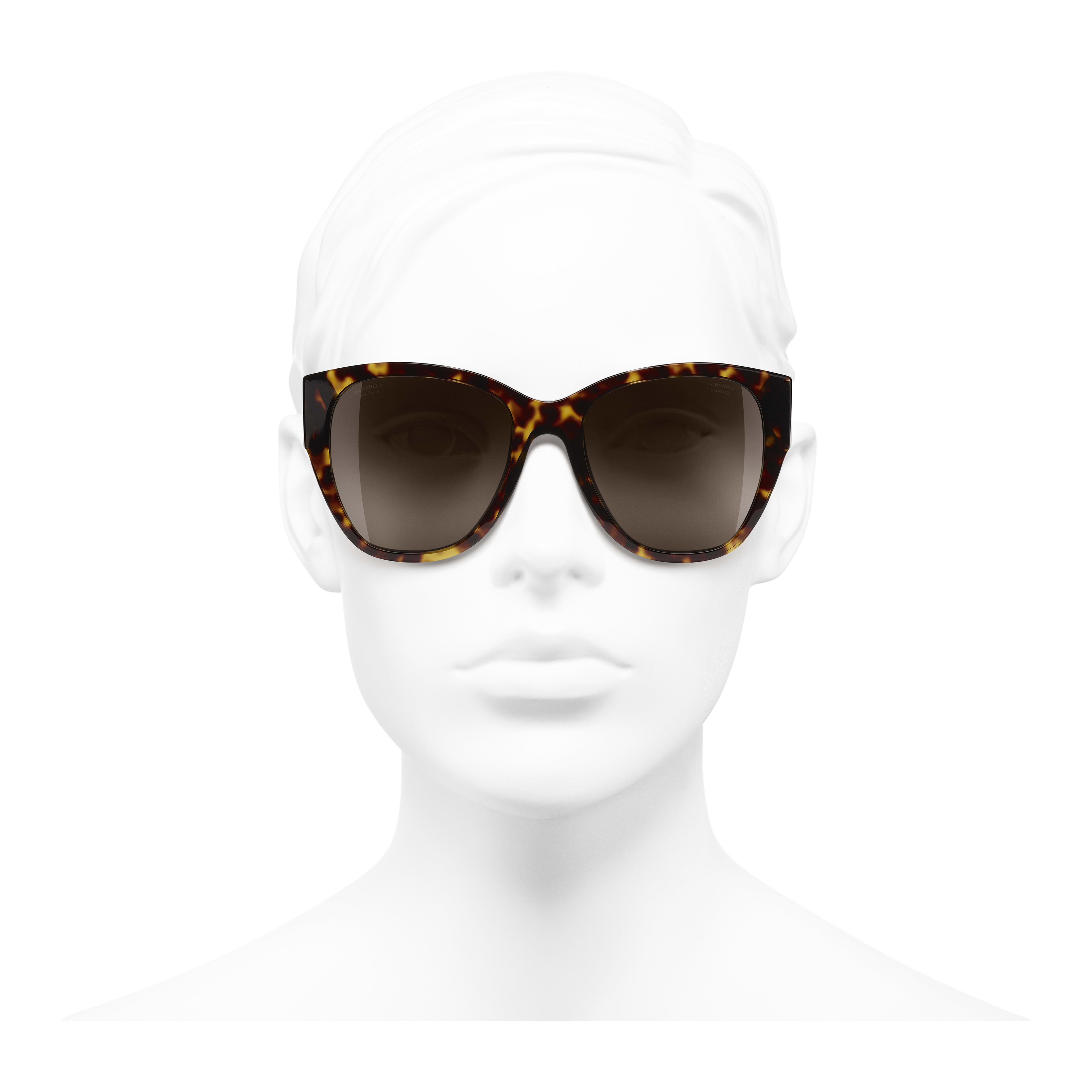 Butterfly Sunglasses - Dark Tortoise - Acetate - Worn front view - see full sized version
