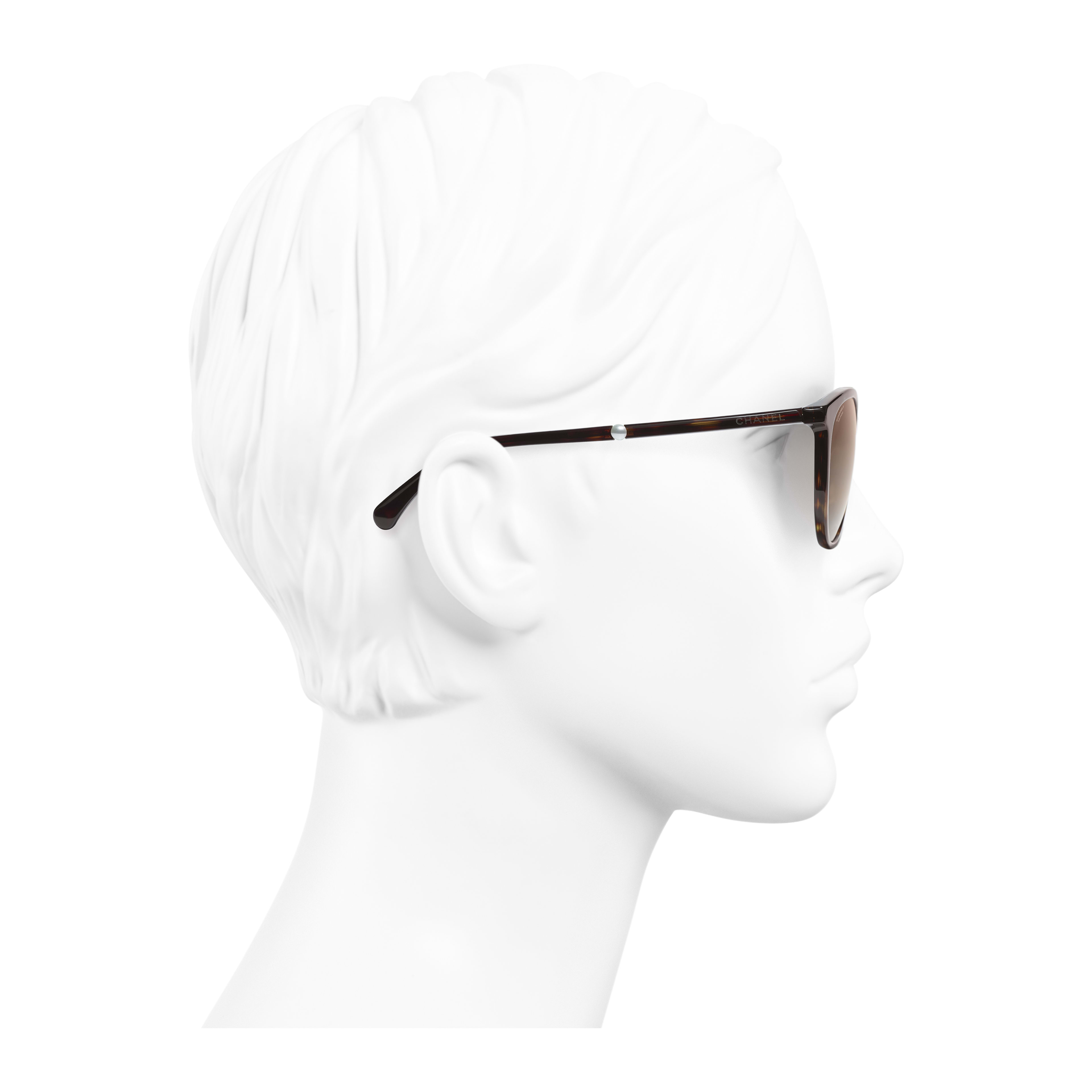Butterfly Sunglasses - Dark Tortoise - Acetate & Imitation Pearls - Worn side view - see full sized version