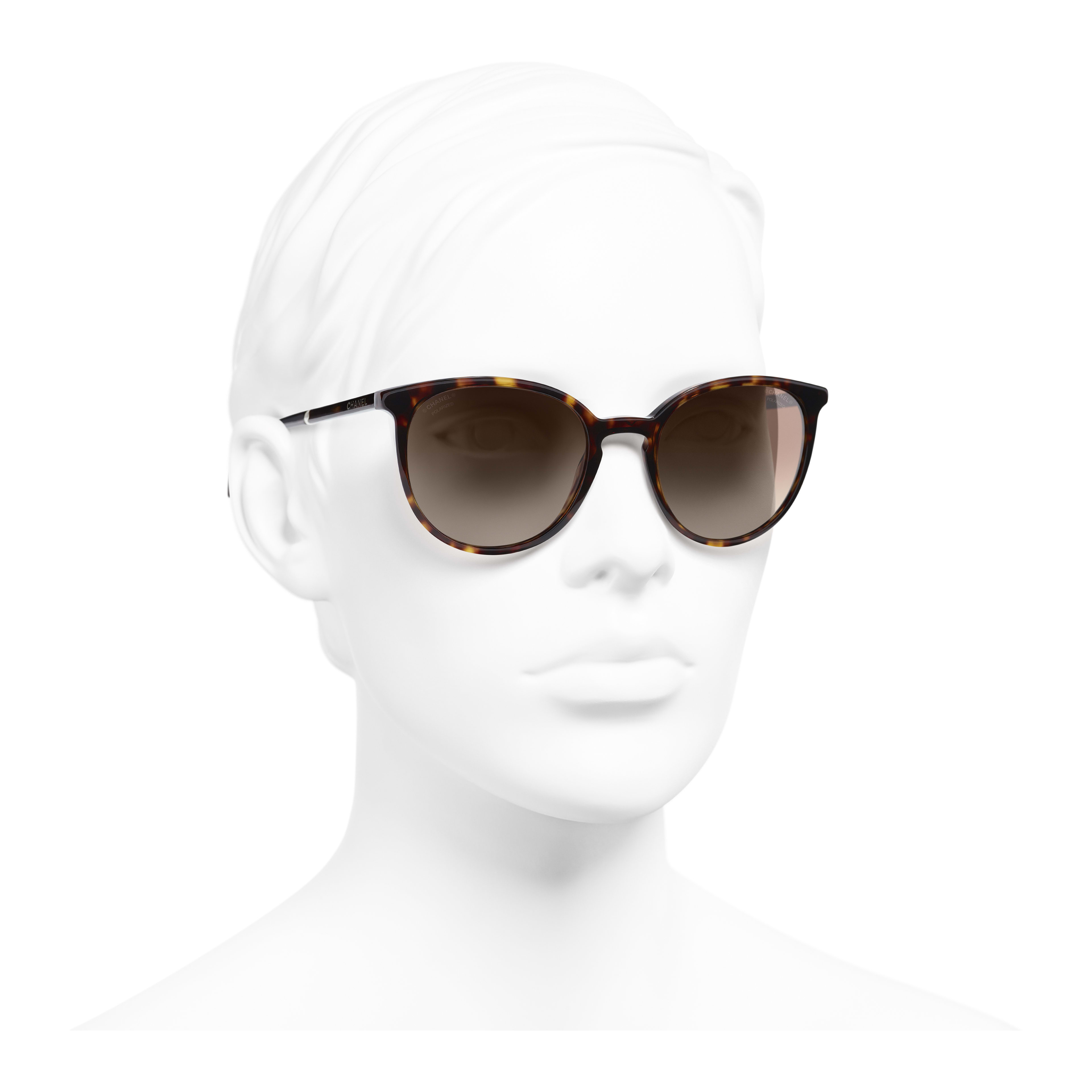 Butterfly Sunglasses - Dark Tortoise - Acetate & Imitation Pearls - Polarized Lenses - Worn 3/4 view - see full sized version
