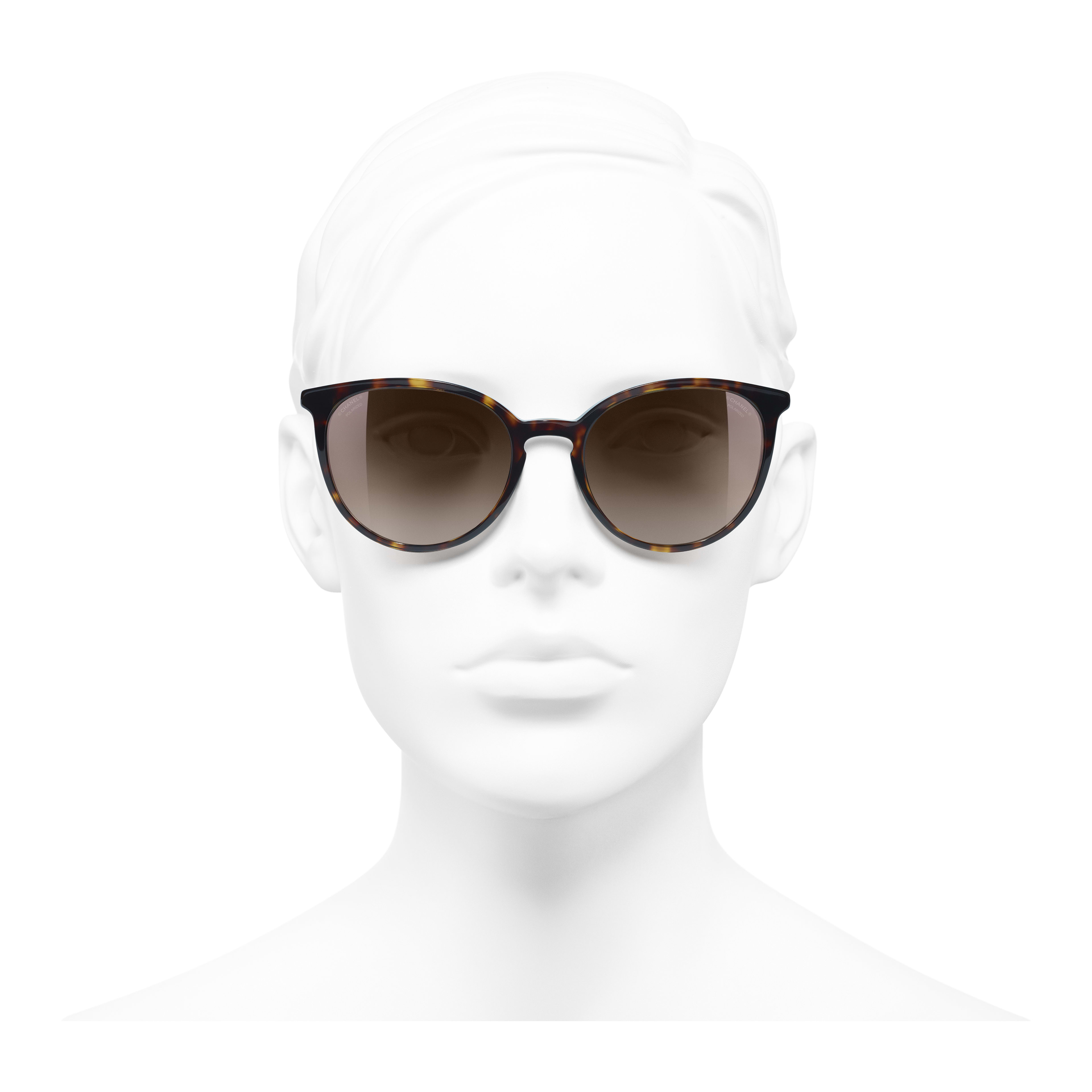 Butterfly Sunglasses - Dark Tortoise - Acetate & Imitation Pearls - Polarized Lenses - Worn front view - see full sized version