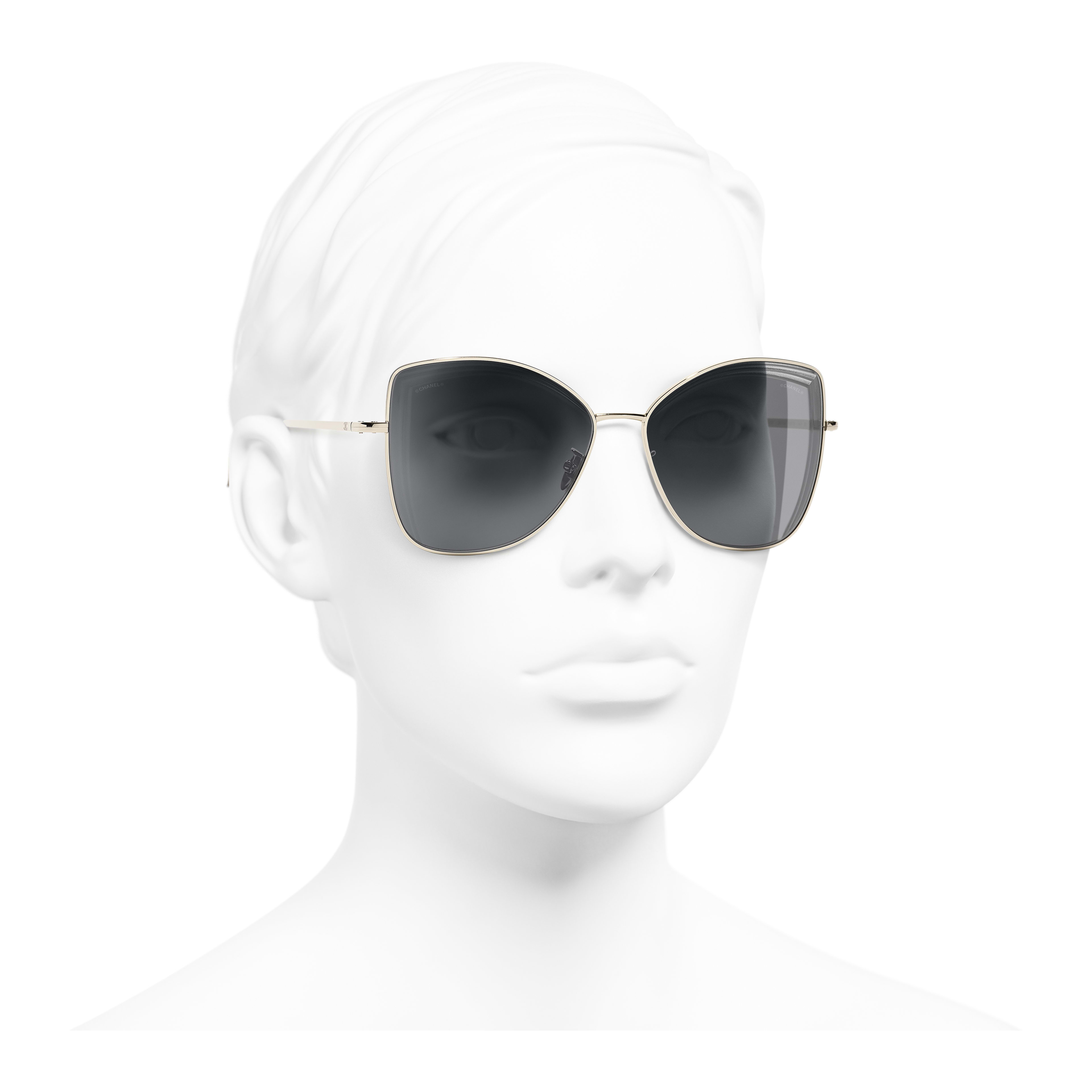 Butterfly Sunglasses - Gold - Metal - Worn 3/4 view - see full sized version