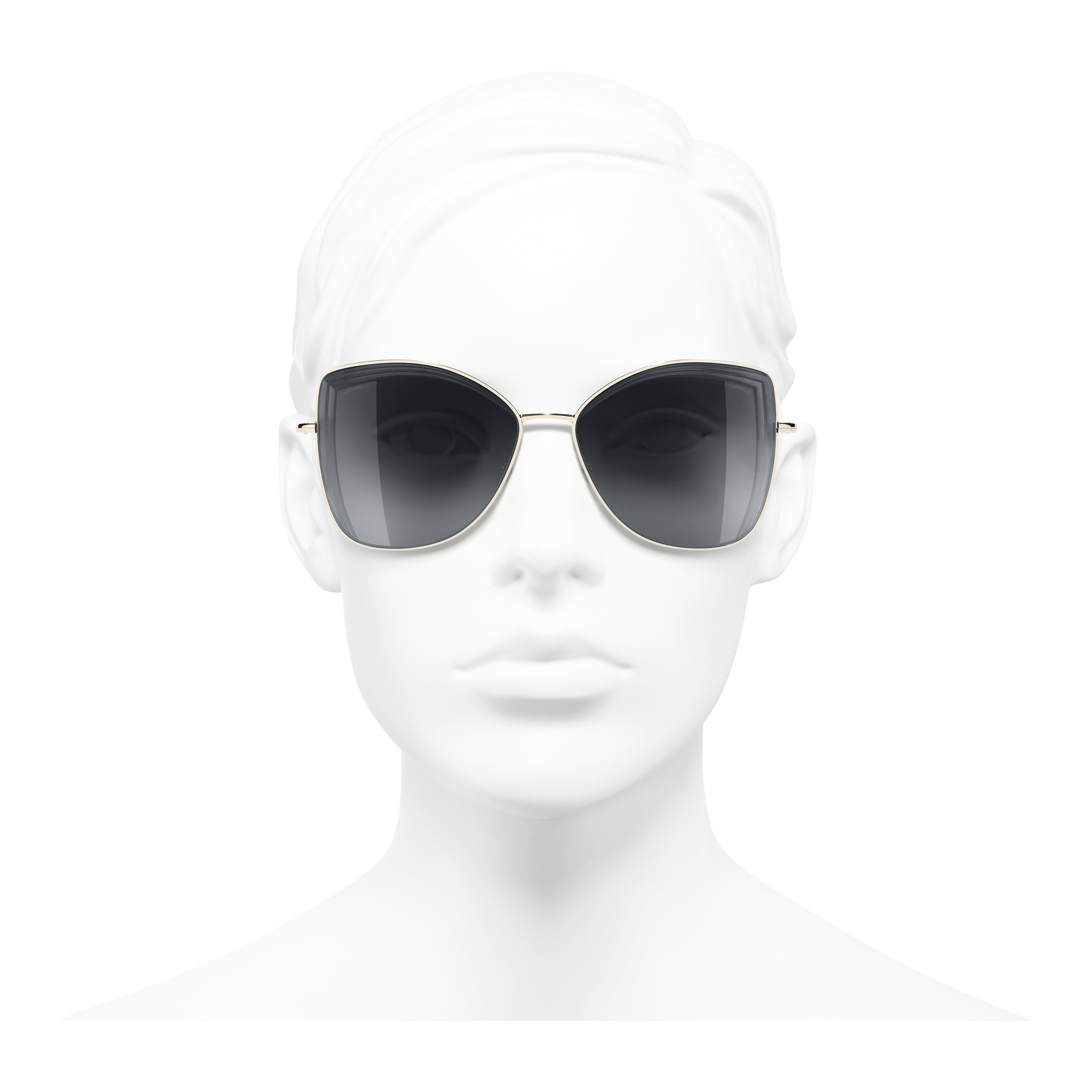 Butterfly Sunglasses - Gold - Metal - Worn front view - see full sized version
