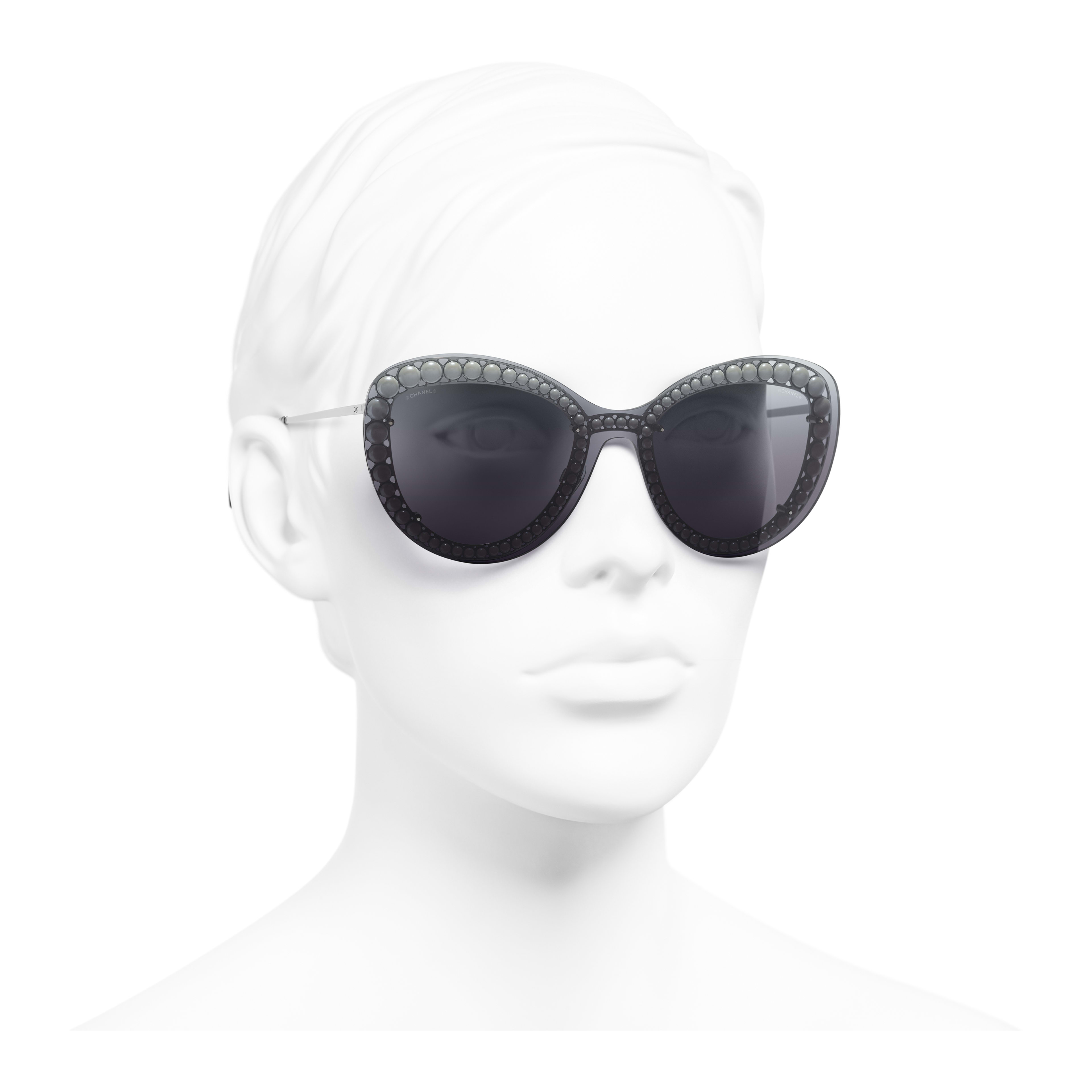 Butterfly Sunglasses - Silver - Metal & Imitation Pearls - Worn 3/4 view - see full sized version