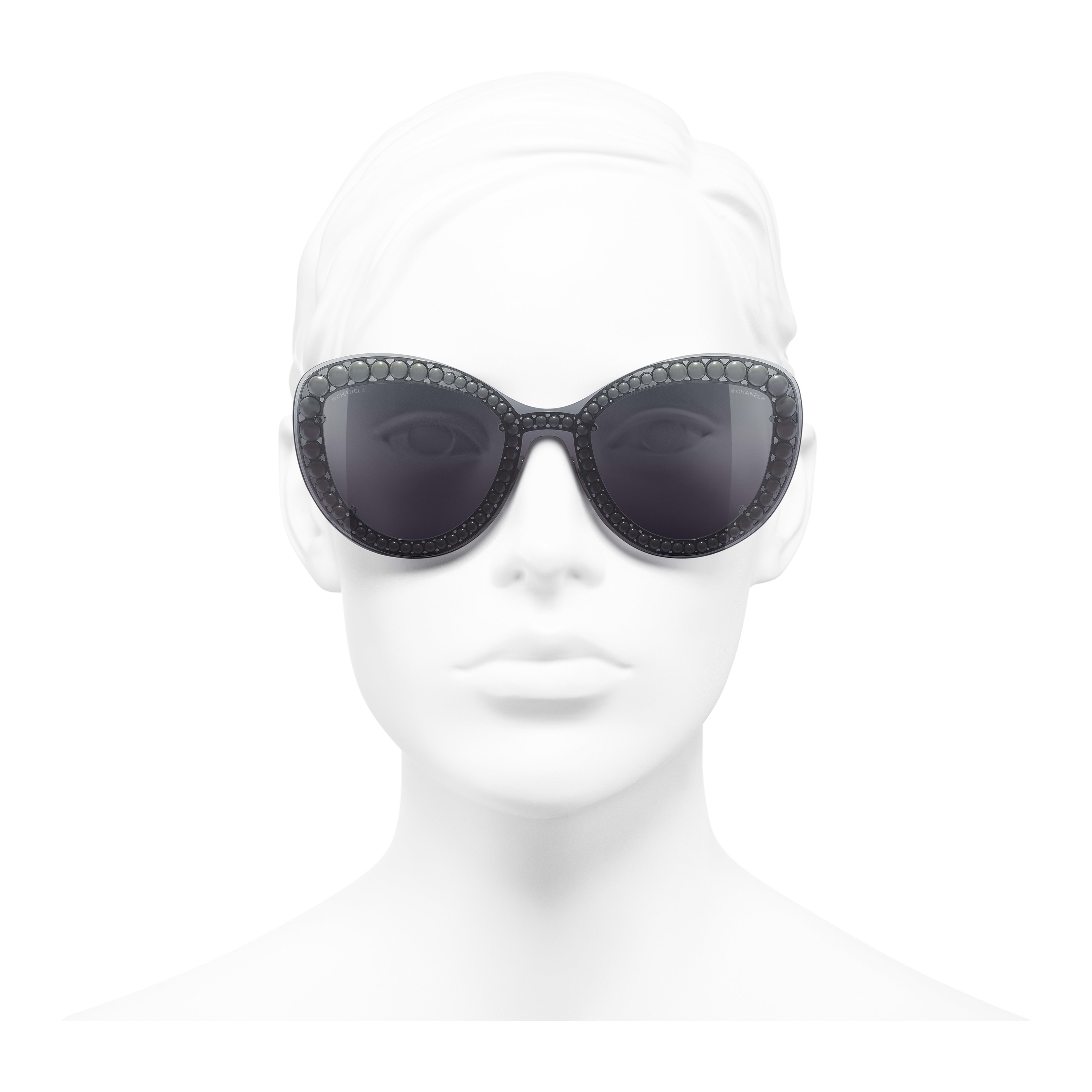 Butterfly Sunglasses - Silver - Metal & Imitation Pearls - Worn front view - see full sized version